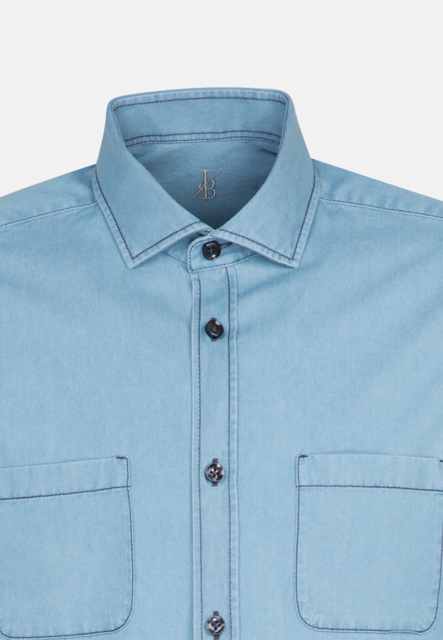 Denim Smart Casual Hemd in Perfect Fit mit Haifischkragen in Hellblau |  Jacques Britt Onlineshop