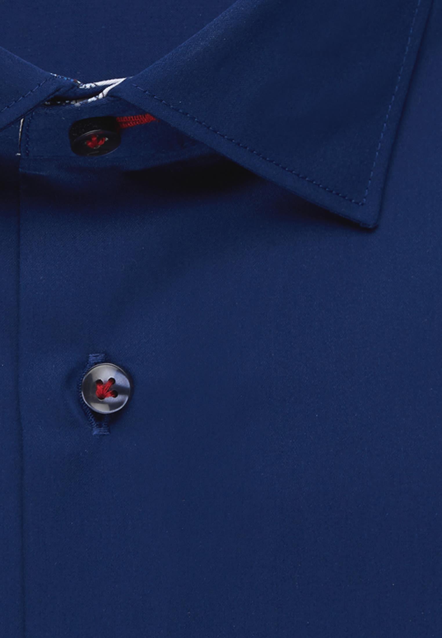 Satin Business Hemd in Slim Fit mit Kentkragen in Dunkelblau |  Jacques Britt Onlineshop