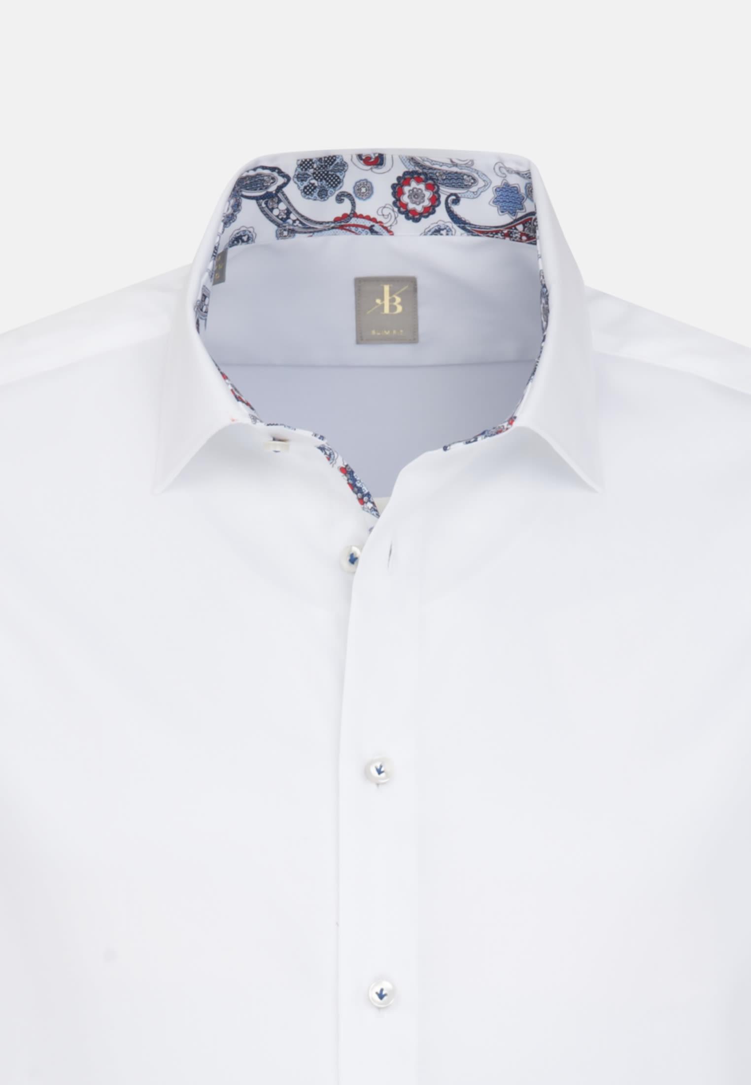 Satin Business Hemd in Slim Fit mit Kentkragen in Weiß |  Jacques Britt Onlineshop