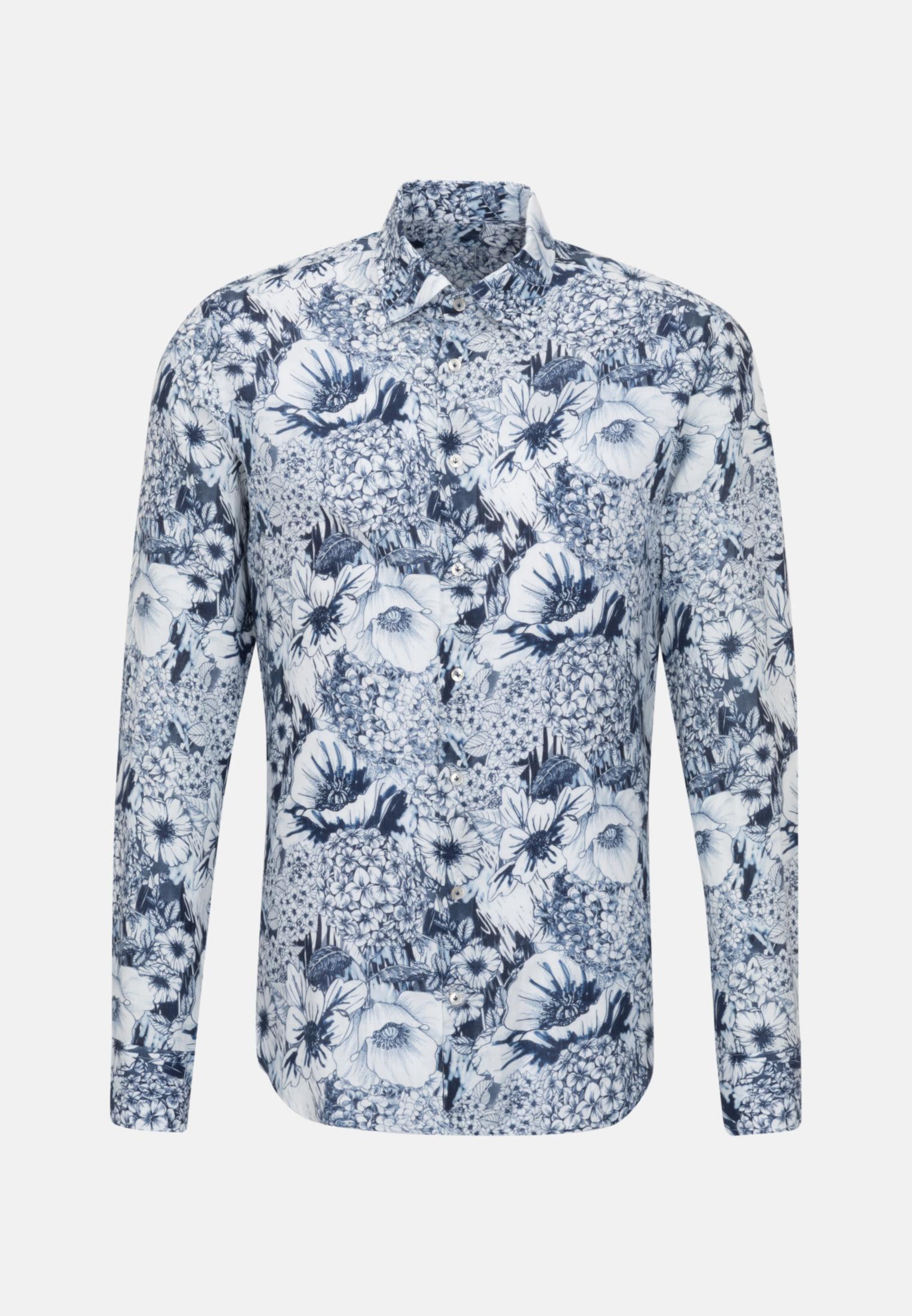 Leinen Smart Casual Hemd in Perfect Fit mit Under-Button-Down-Kragen in Dunkelblau |  Jacques Britt Onlineshop