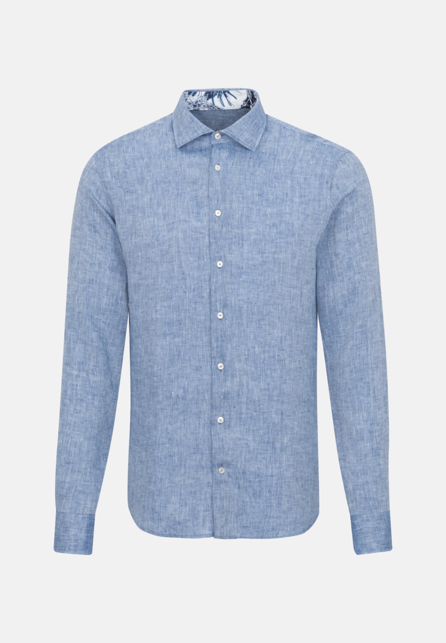 Leinen Smart Casual Hemd in Perfect Fit mit Kentkragen in Dunkelblau |  Jacques Britt Onlineshop