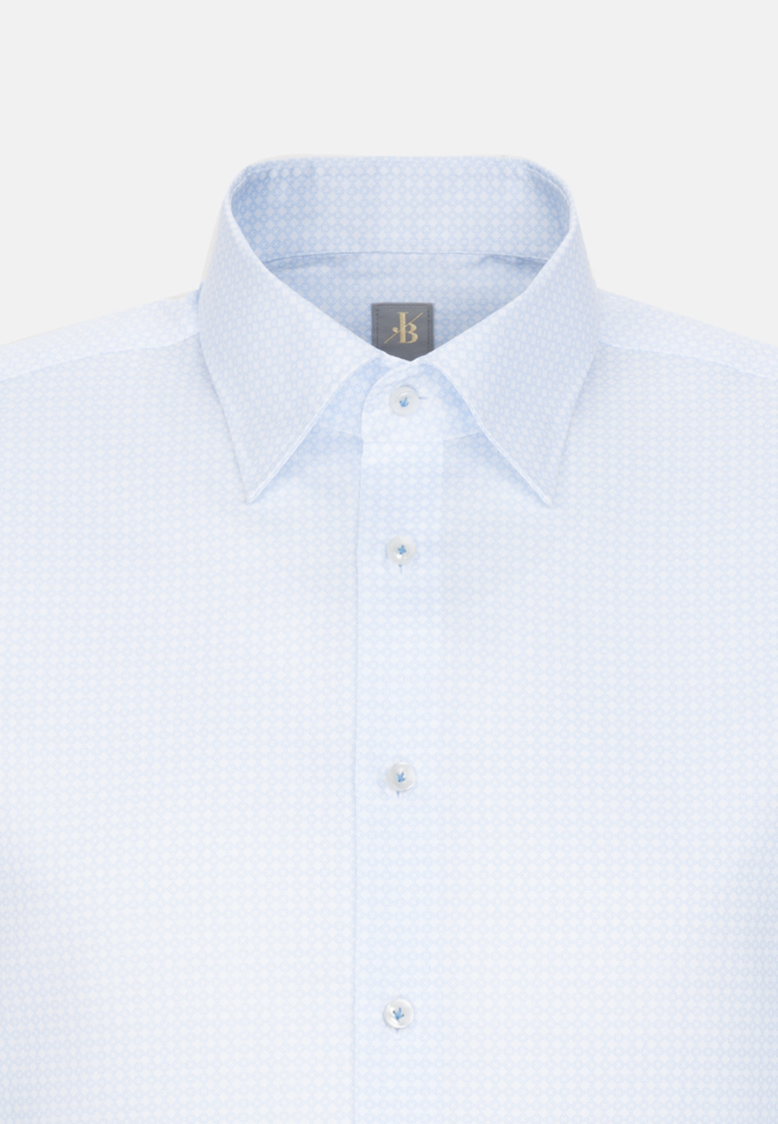 Struktur Business Hemd in Custom Fit mit Under-Button-Down-Kragen in Hellblau |  Jacques Britt Onlineshop