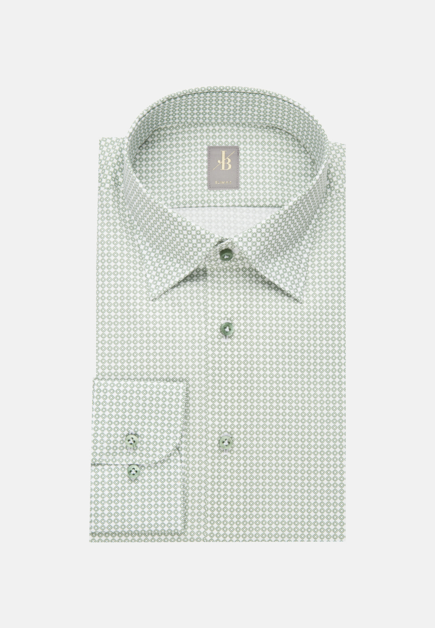 Struktur Business Hemd in Slim Fit mit Under-Button-Down-Kragen in Grün |  Jacques Britt Onlineshop