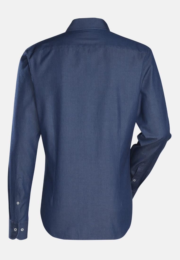 Denim Smart Casual Hemd in Slim Fit mit Haifischkragen in Mittelblau |  Jacques Britt Onlineshop