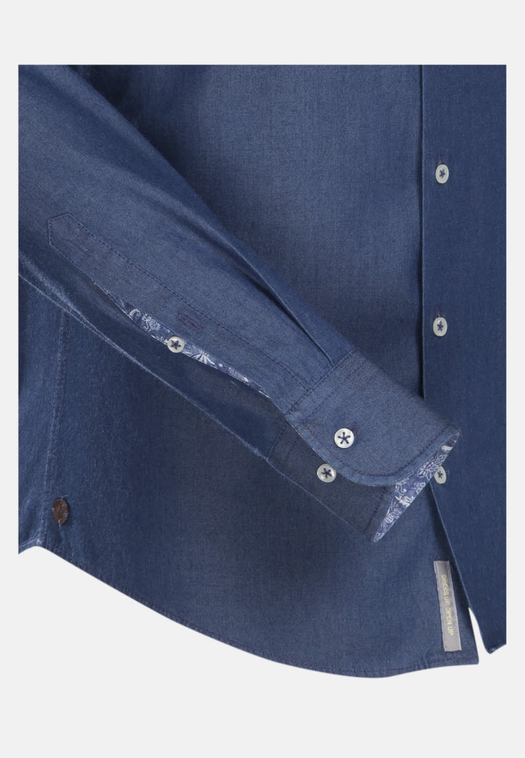 Denim Smart Casual Hemd in Slim Fit mit Haifischkragen in Mittelblau |  Jacques Britt Onlineshop