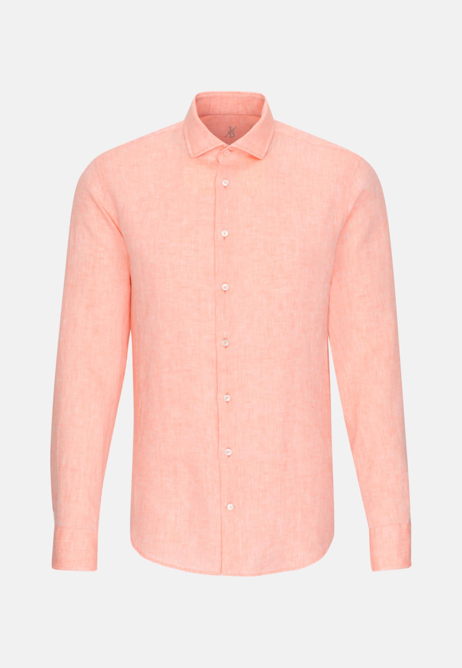 Leinen Smart Casual Hemd in Perfect Fit mit Haifischkragen in Orange |  Jacques Britt Onlineshop