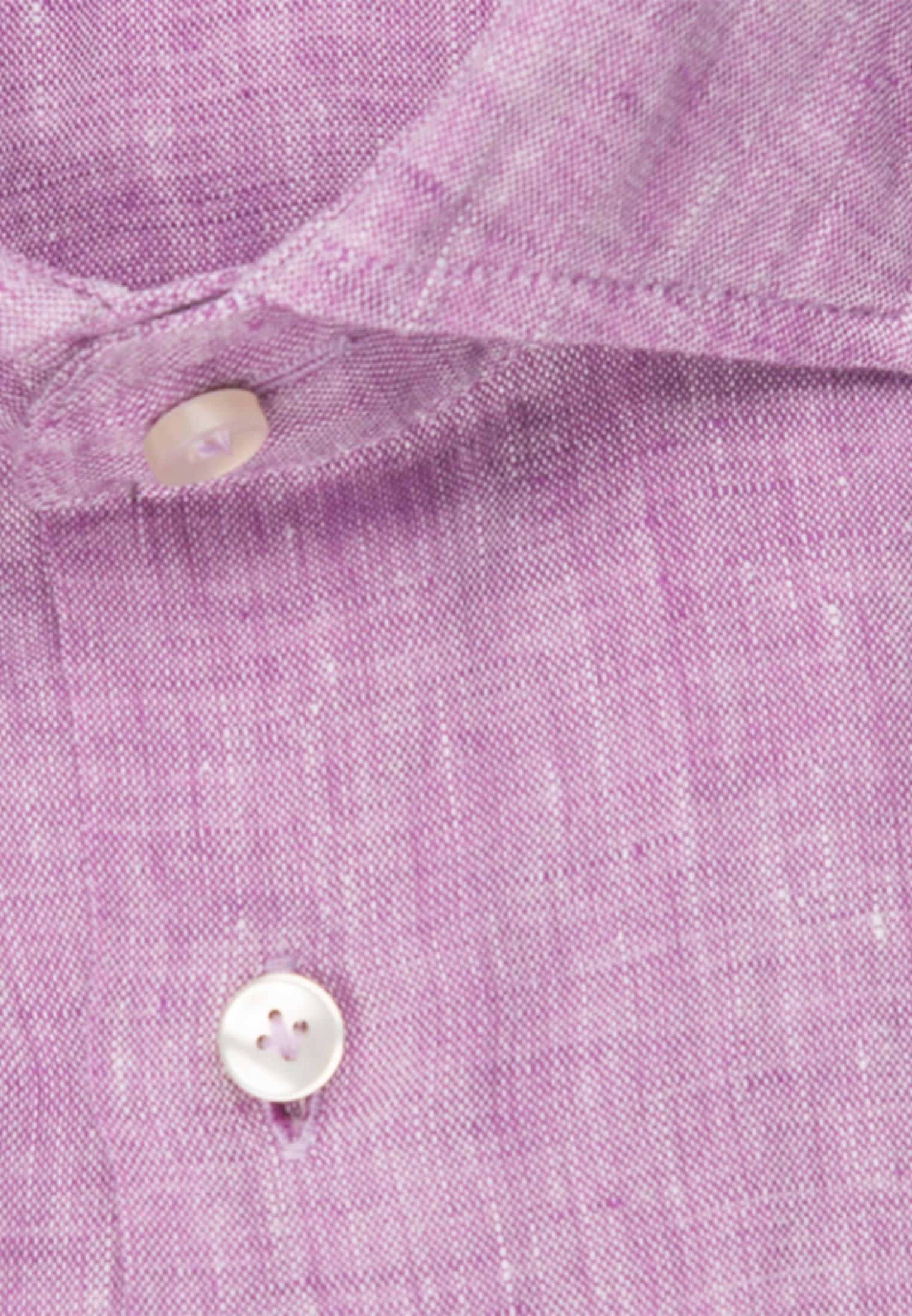 Leinen Smart Casual Hemd in Perfect Fit mit Haifischkragen in Lila |  Jacques Britt Onlineshop