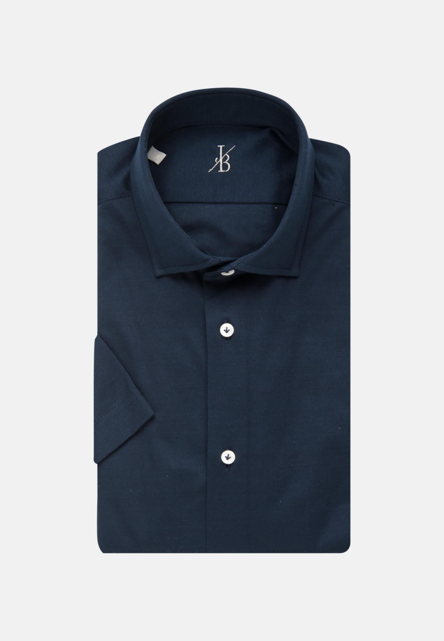 Kurzarm Jersey Smart Casual Hemd in Perfect Fit mit Haifischkragen in Dunkelblau |  Jacques Britt Onlineshop