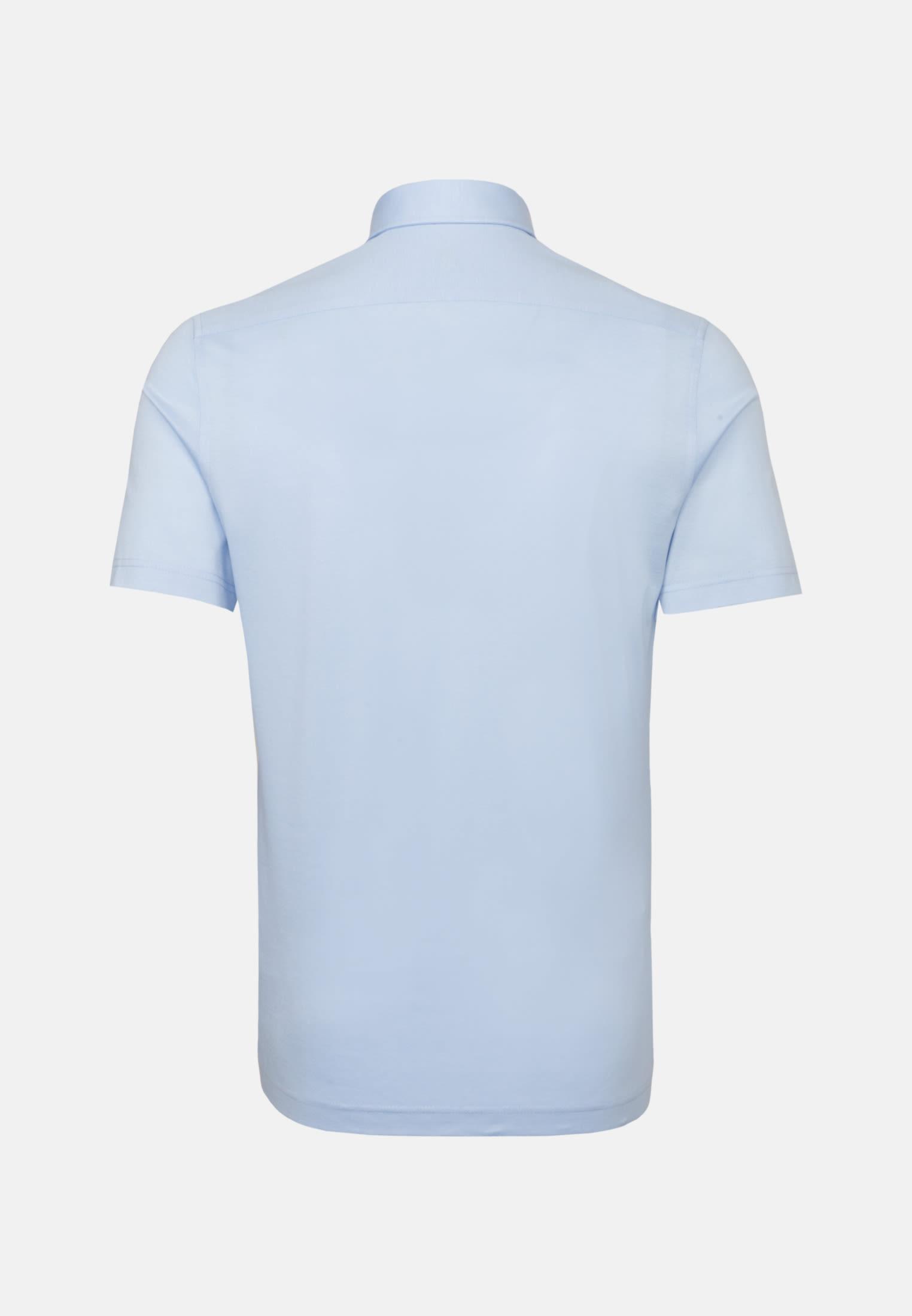 Kurzarm Jersey Smart Casual Hemd in Perfect Fit mit Haifischkragen in Hellblau |  Jacques Britt Onlineshop