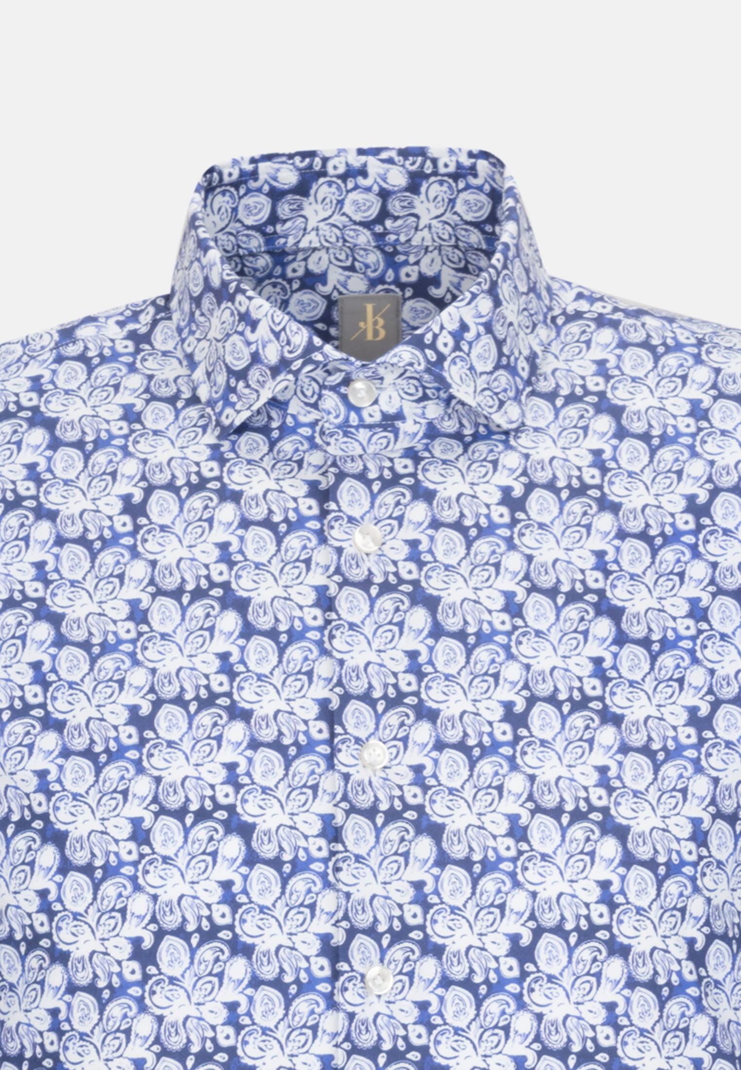 Popeline Smart Casual Hemd in Slim Fit mit Haifischkragen in Mittelblau |  Jacques Britt Onlineshop