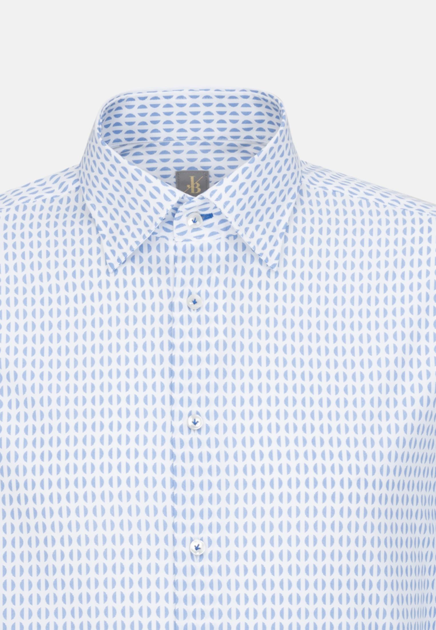 Popeline Business Hemd in Custom Fit mit Under-Button-Down-Kragen in Mittelblau |  Jacques Britt Onlineshop