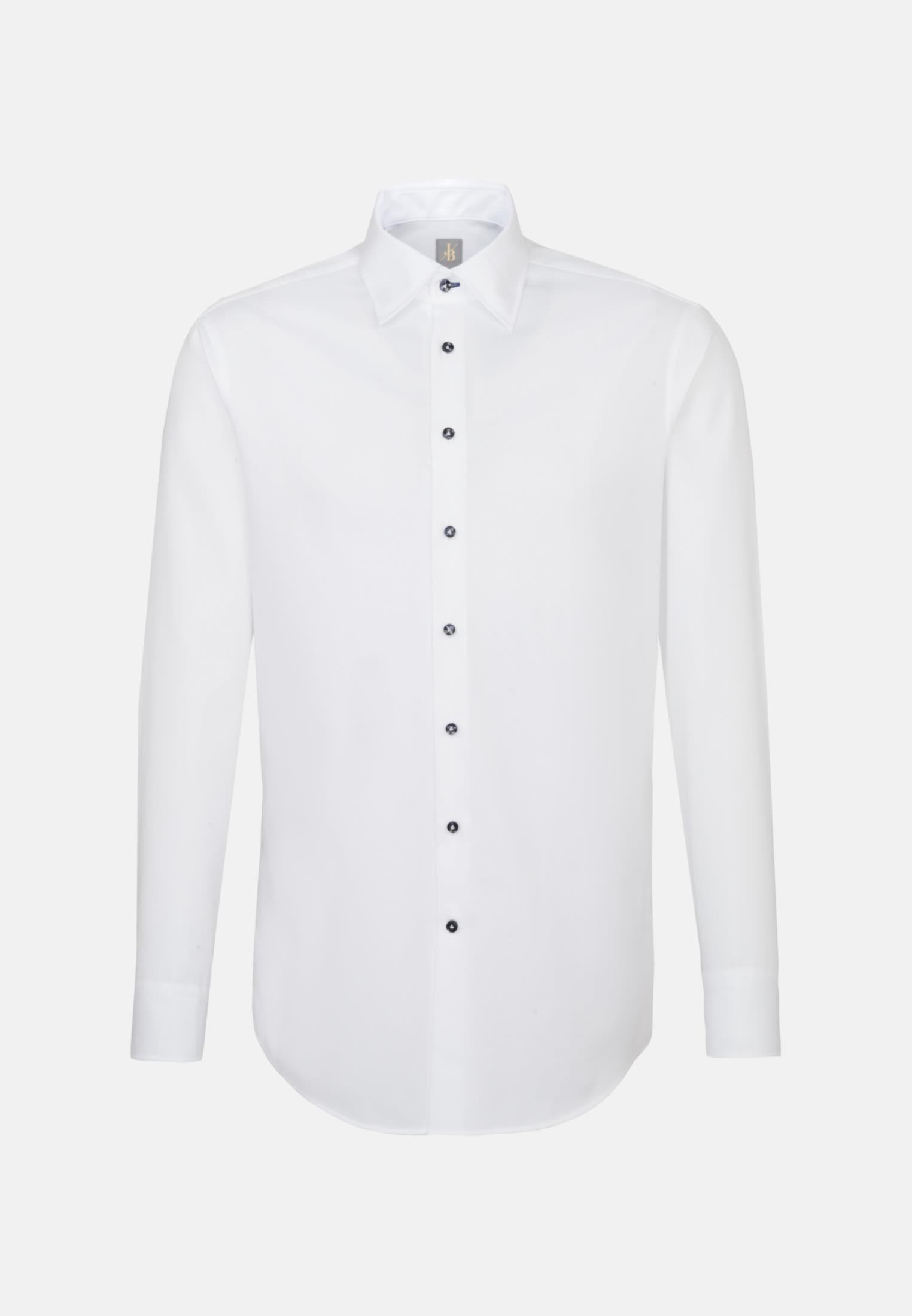 Struktur Business Hemd in Custom Fit mit Under-Button-Down-Kragen in Weiß |  Jacques Britt Onlineshop