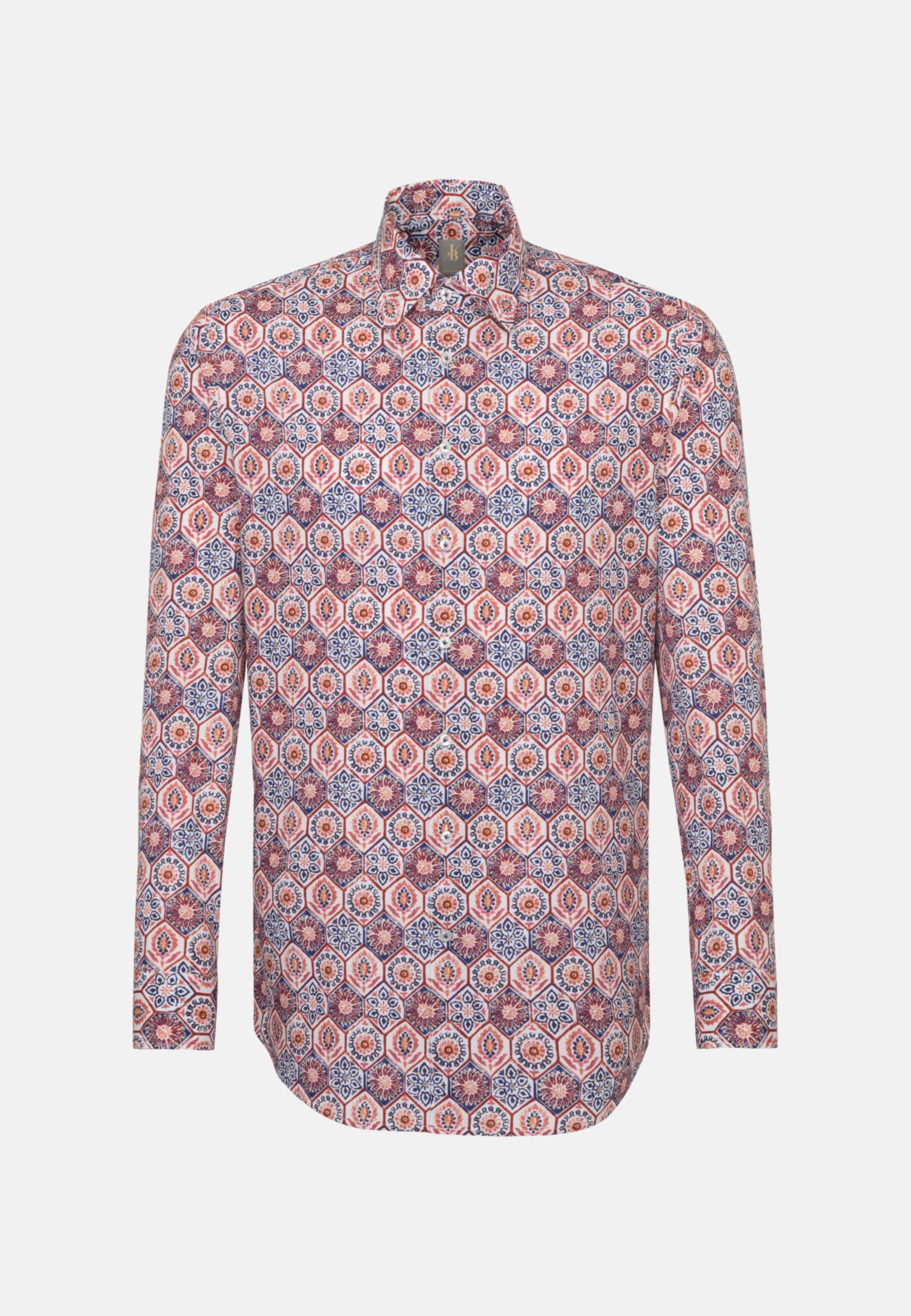 Popeline Business Hemd in Custom Fit mit Under-Button-Down-Kragen in Braun |  Jacques Britt Onlineshop