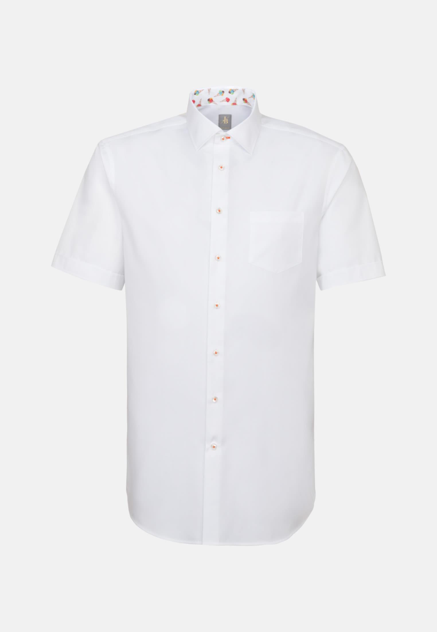 Kurzarm Twill Business Hemd in Custom Fit mit Kentkragen in Weiß |  Jacques Britt Onlineshop