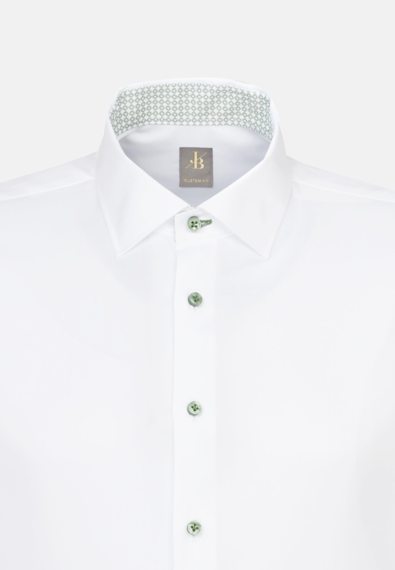 Twill Business Hemd in Custom Fit mit Kentkragen in Weiß    Jacques Britt Onlineshop