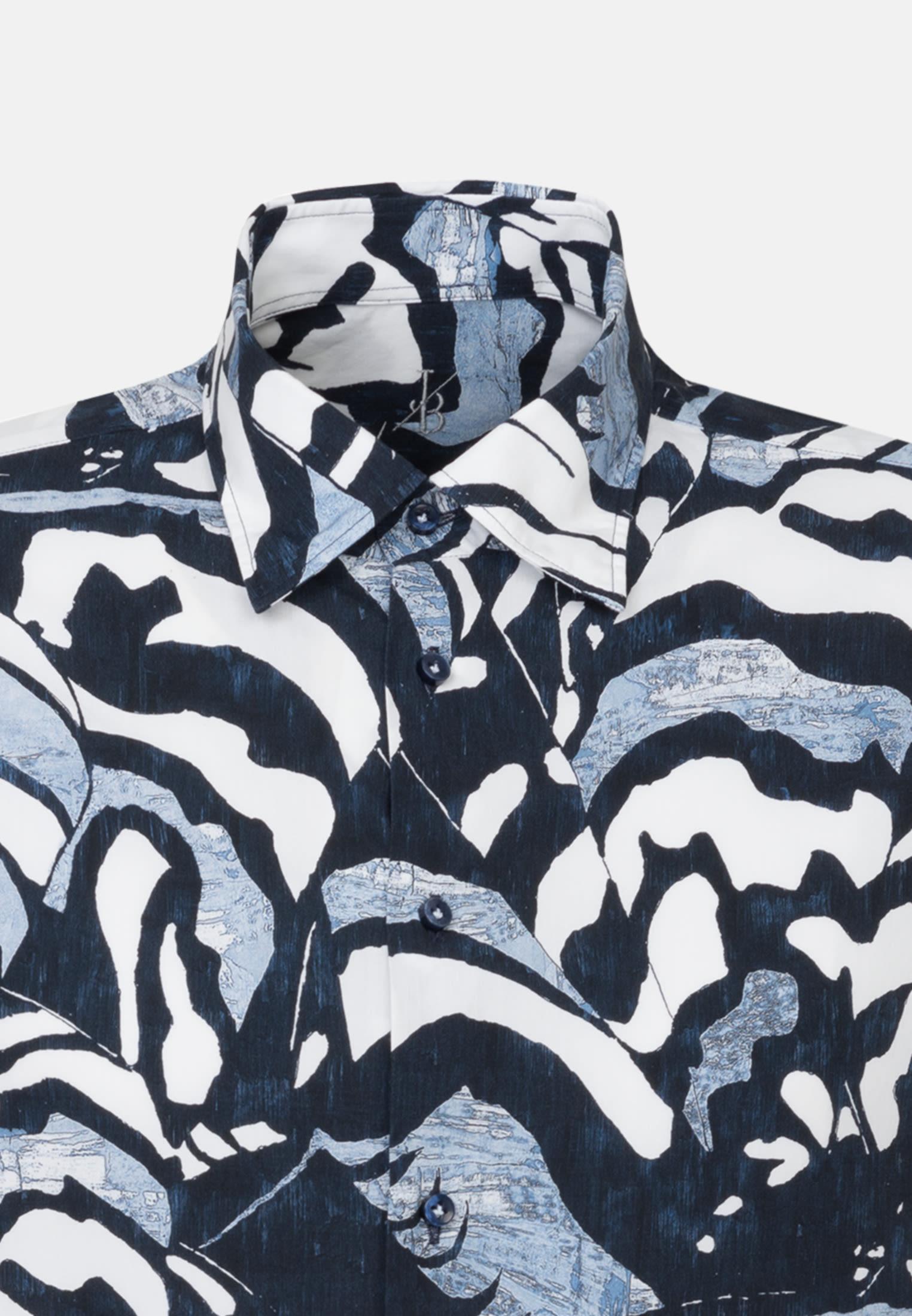 Popeline Smart Casual Hemd in Perfect Fit mit Under-Button-Down-Kragen in Dunkelblau    Jacques Britt Onlineshop