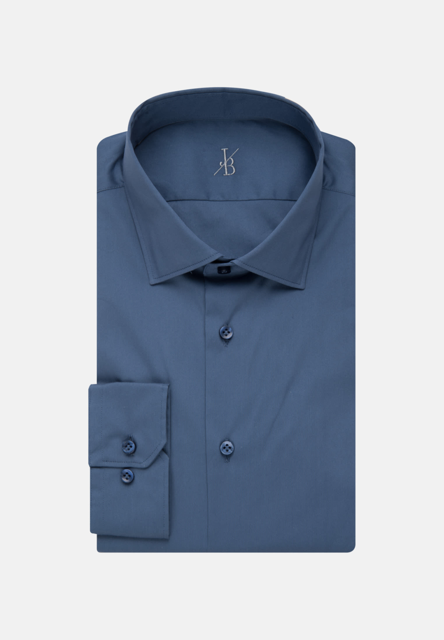 Jacques Britt Smart Casual Hemd Popeline in Mittelblau |  Jacques Britt Onlineshop