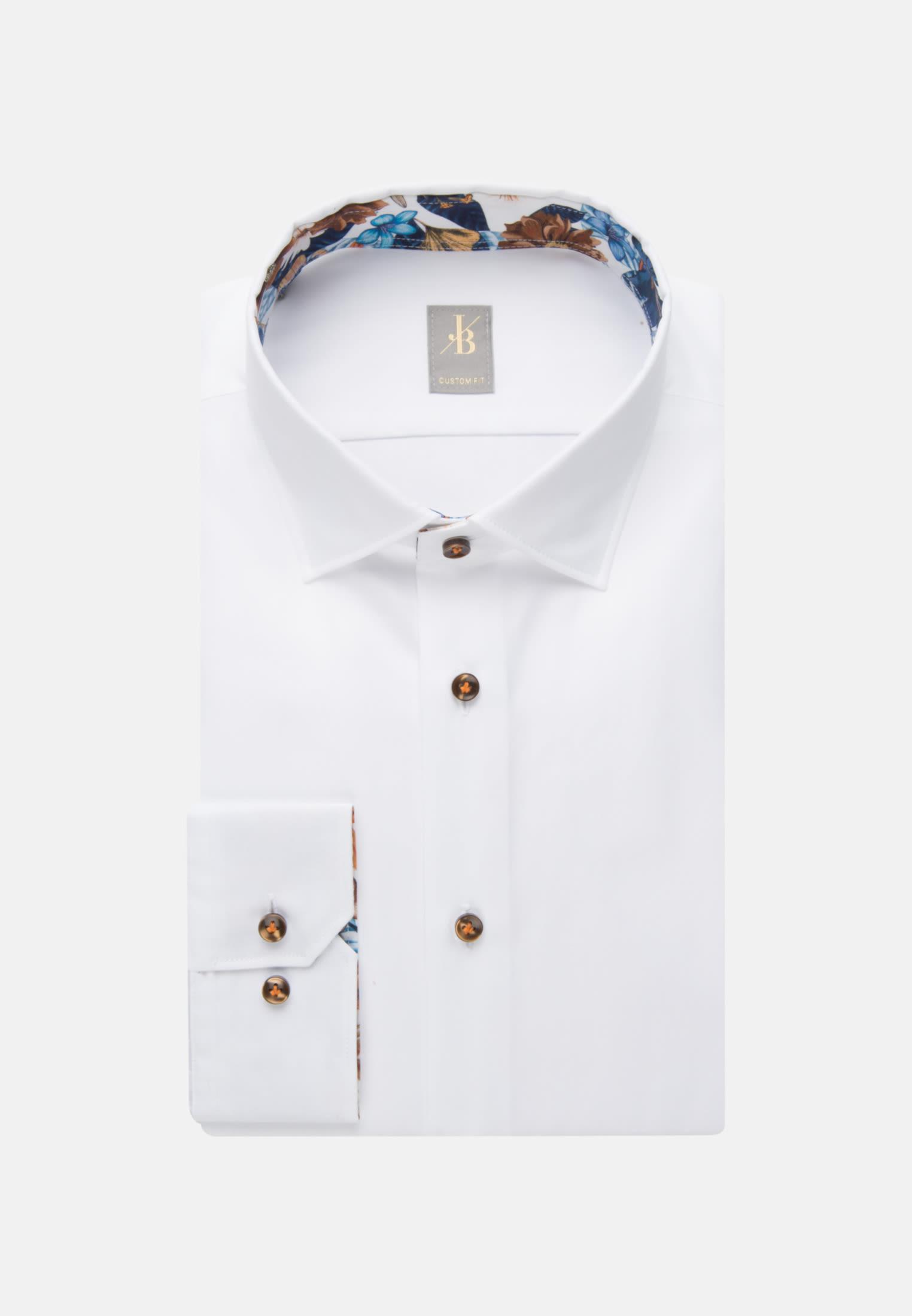 Twill Business Hemd in Custom Fit mit Kentkragen in Weiß |  Jacques Britt Onlineshop