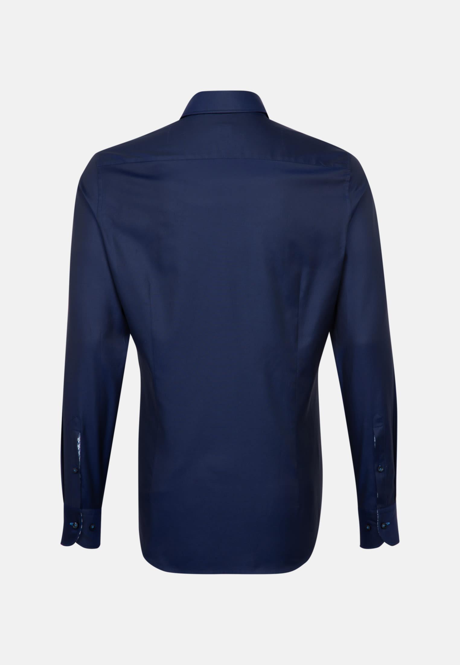 Struktur Business Hemd in Custom Fit mit Under-Button-Down-Kragen in Dunkelblau |  Jacques Britt Onlineshop