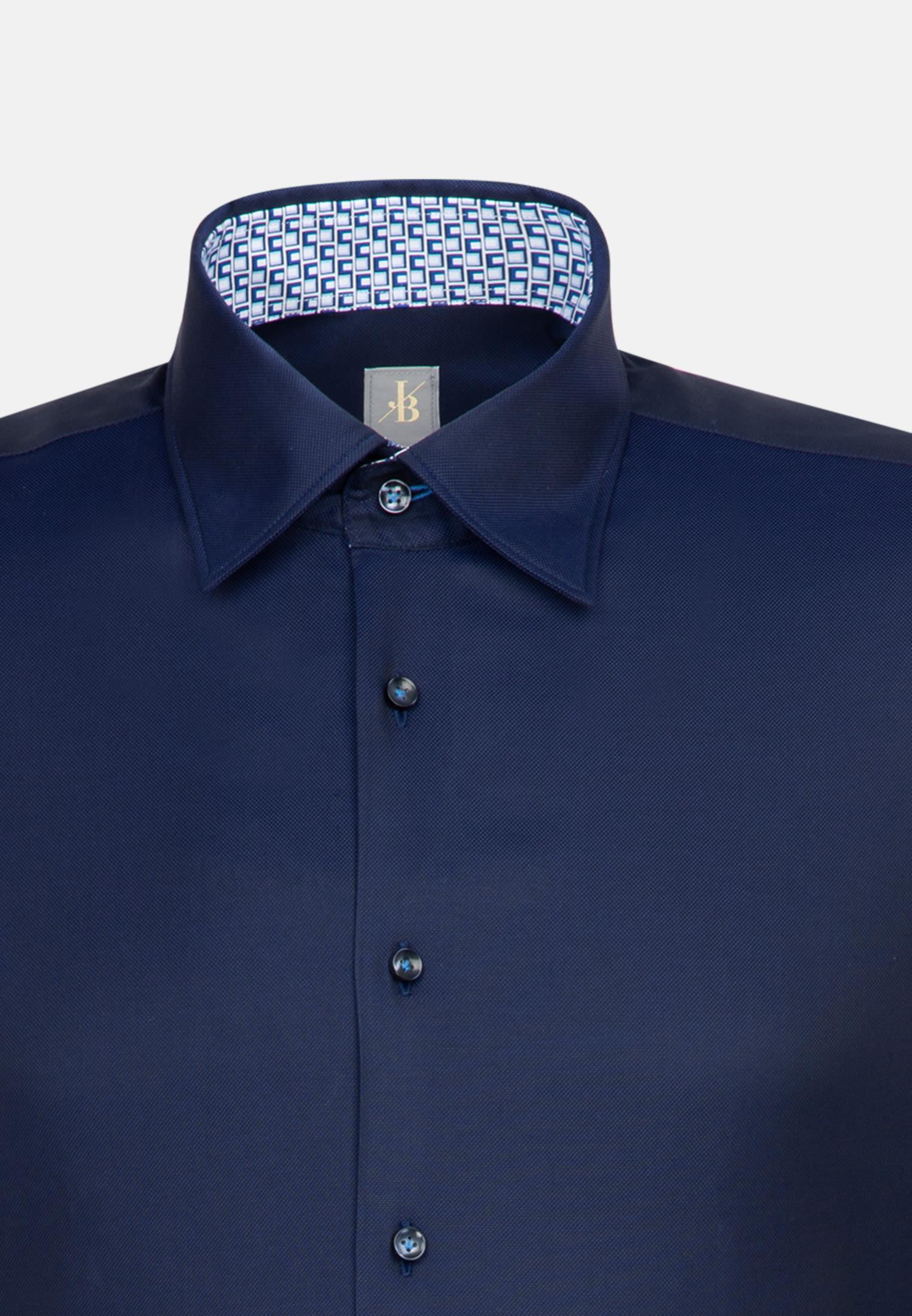 Struktur Business Hemd in Custom Fit mit Under-Button-Down-Kragen in Dunkelblau    Jacques Britt Onlineshop