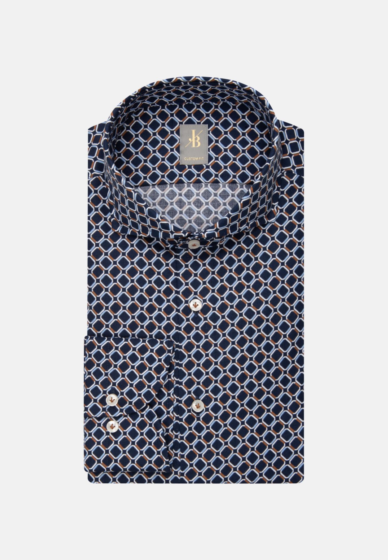 Twill Business Hemd in Custom Fit mit Haifischkragen in Dunkelblau    Jacques Britt Onlineshop