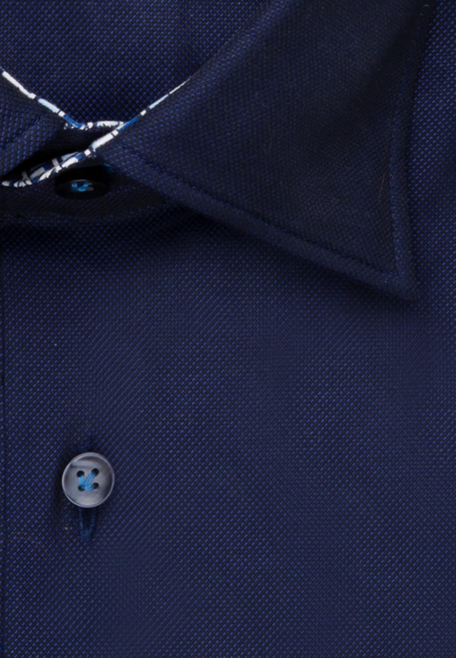 Struktur Business Hemd in Slim Fit mit Under-Button-Down-Kragen in Dunkelblau |  Jacques Britt Onlineshop