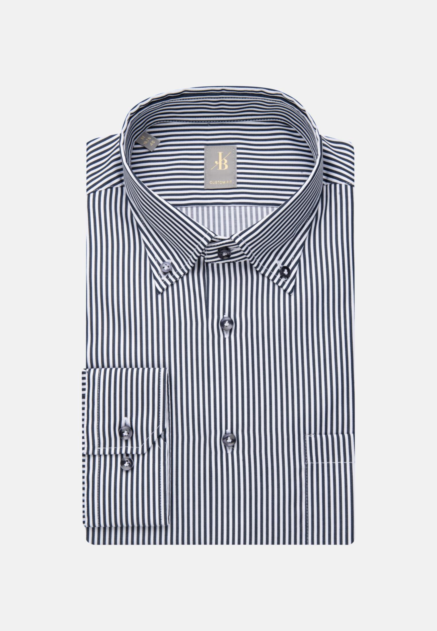 Satin Business Hemd in Custom Fit mit Button-Down-Kragen in Mittelblau |  Jacques Britt Onlineshop