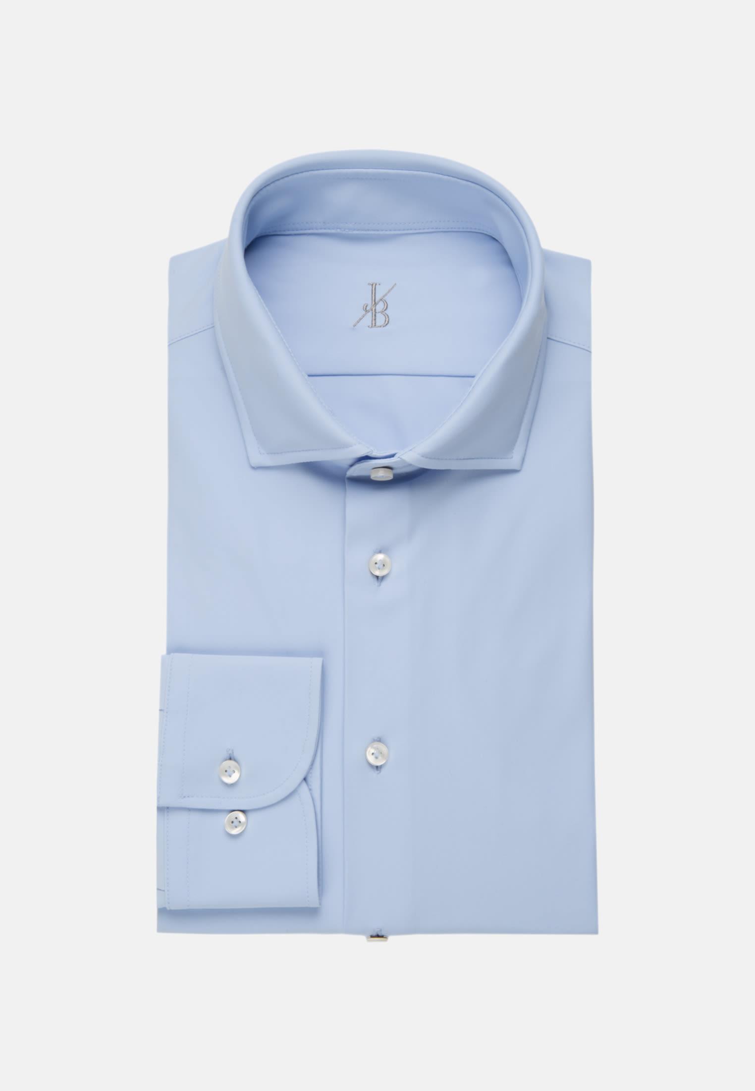 Jersey Smart Casual Hemd in Perfect Fit mit Haifischkragen in Hellblau |  Jacques Britt Onlineshop