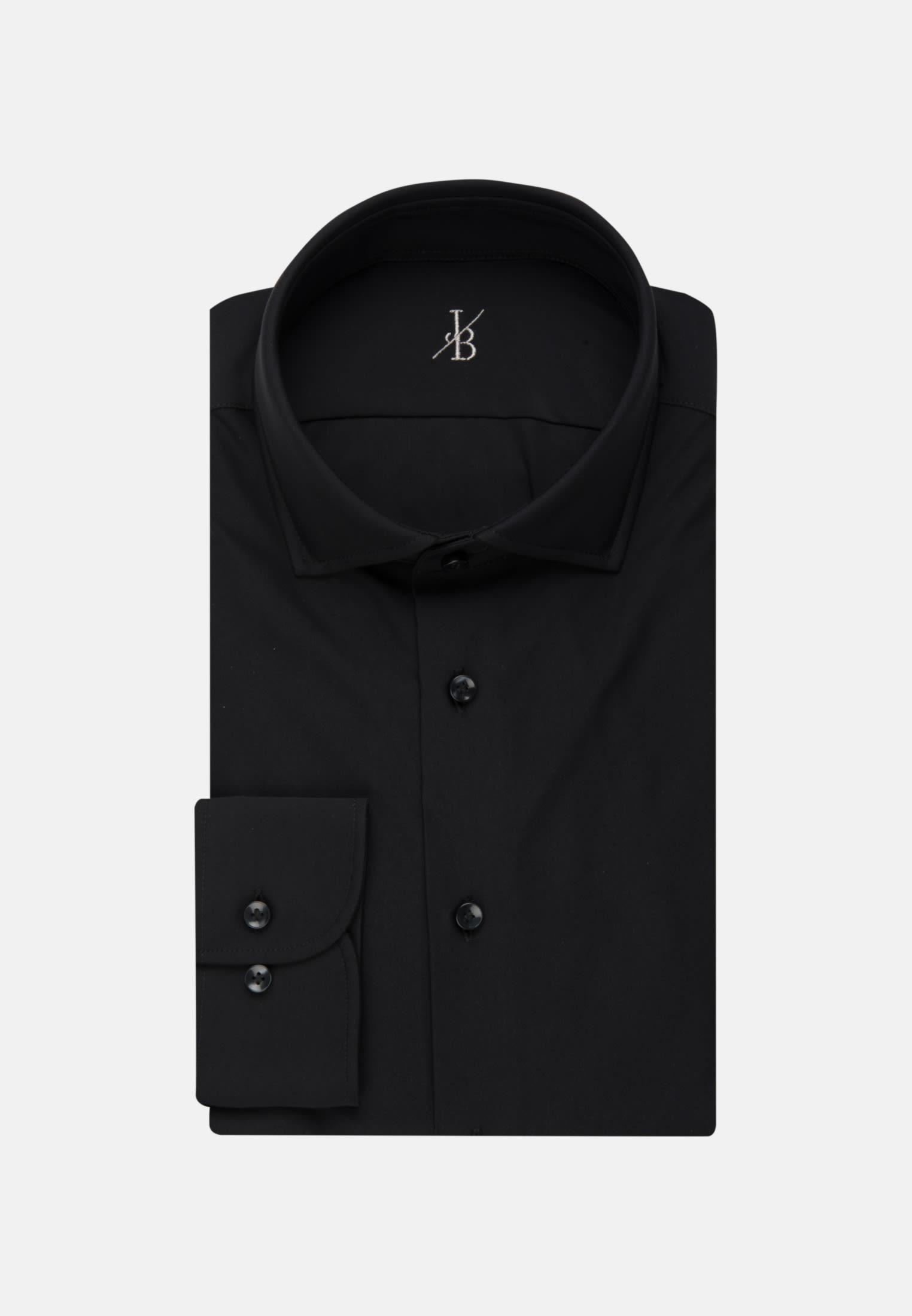 Jersey Smart Casual Hemd in Perfect Fit mit Haifischkragen in Schwarz |  Jacques Britt Onlineshop