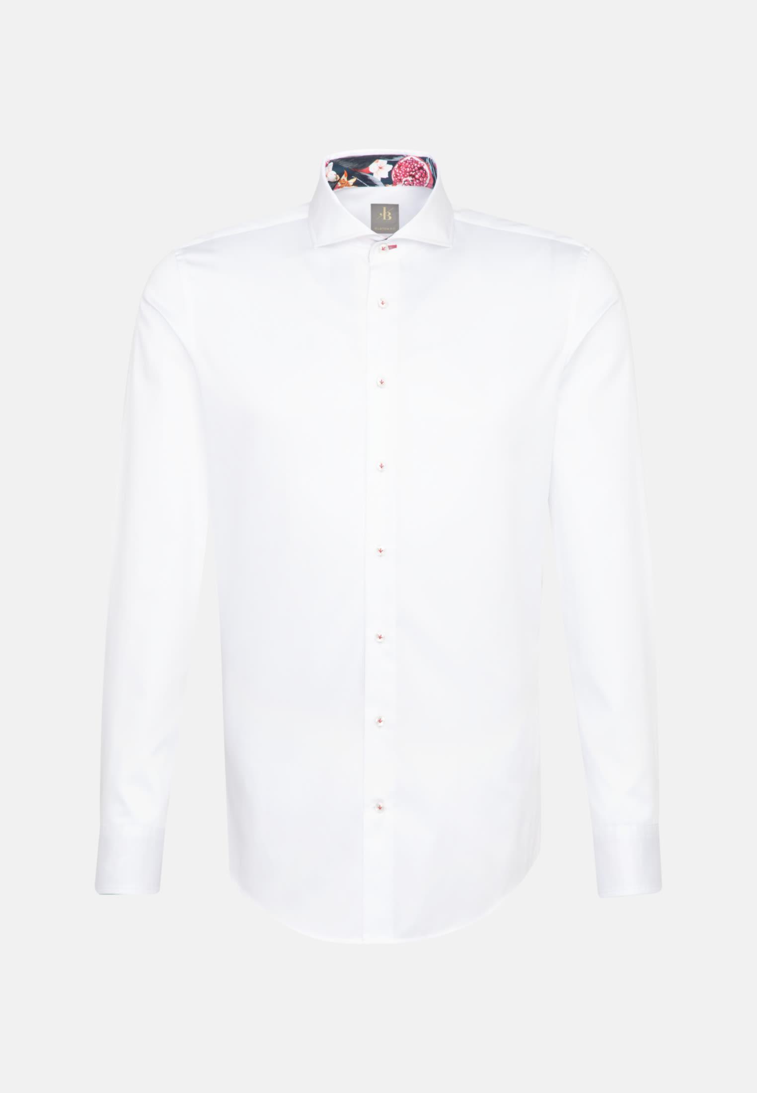 Satin Business Hemd in Custom Fit mit Kentkragen in Weiß    Jacques Britt Onlineshop