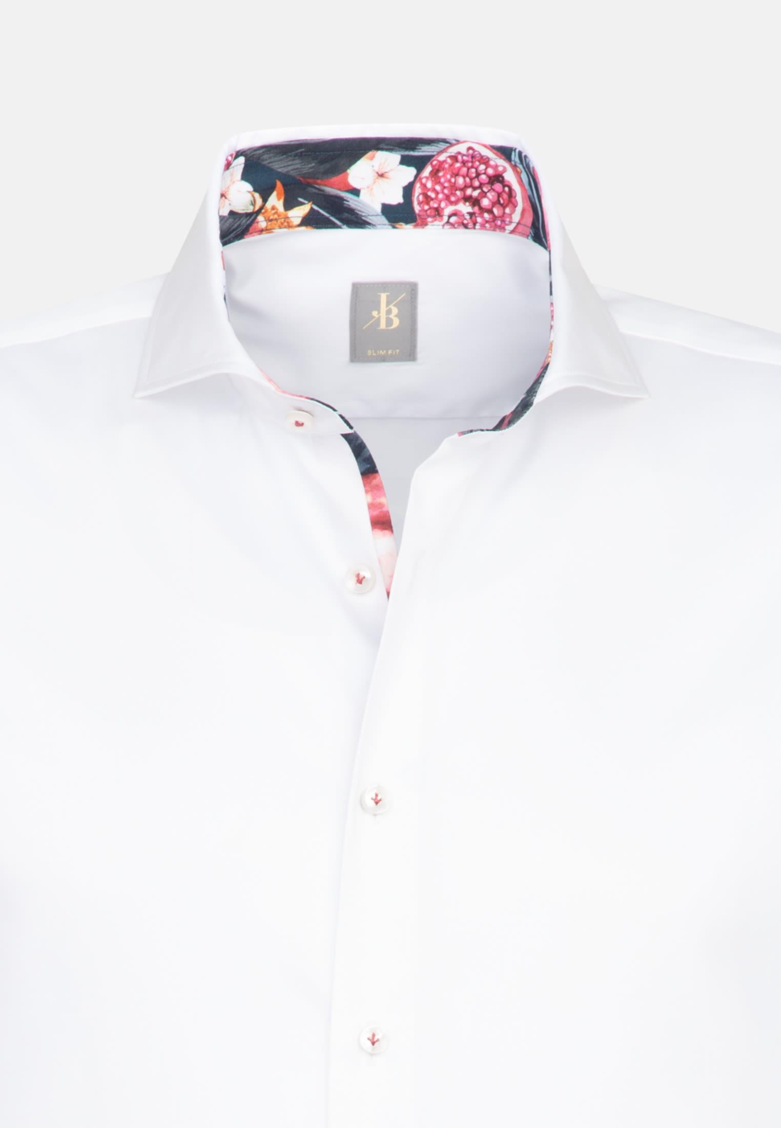 Satin Business Hemd in Slim Fit mit Haifischkragen in Weiß |  Jacques Britt Onlineshop