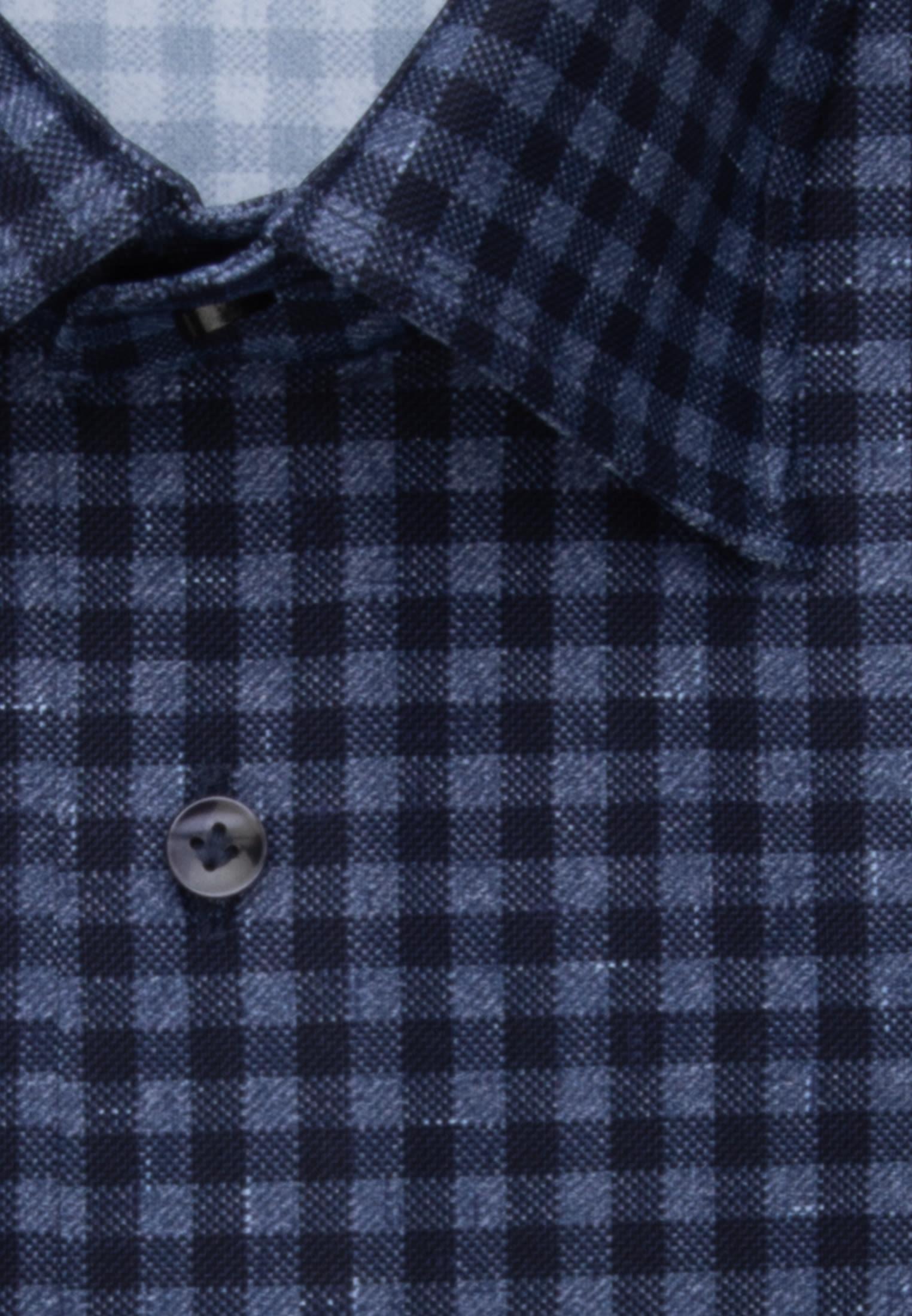 Jersey Smart Casual Hemd in Perfect Fit mit Haifischkragen in Mittelblau |  Jacques Britt Onlineshop