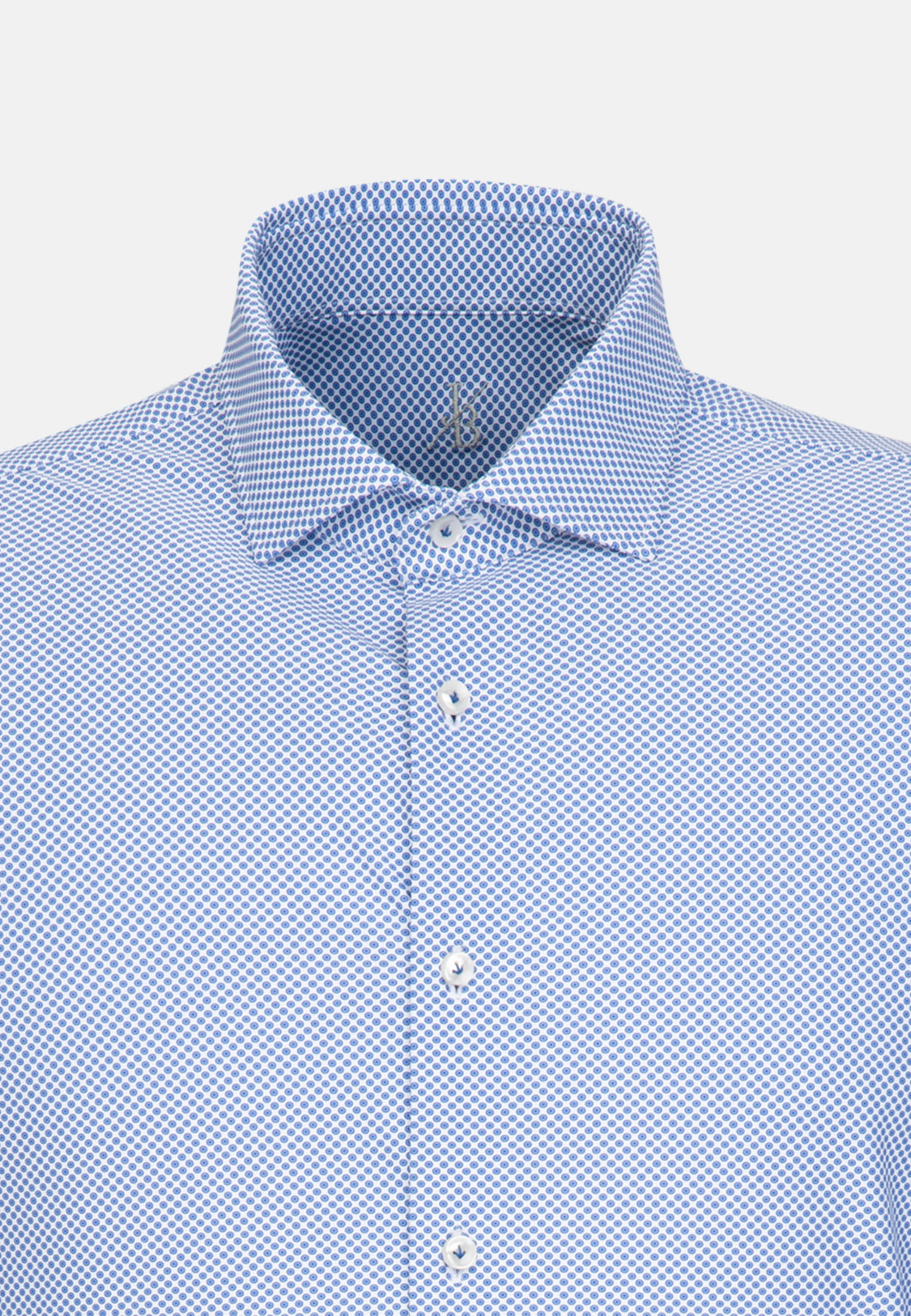 Phantasiebindung Smart Casual Hemd in Perfect Fit mit Haifischkragen in Mittelblau |  Jacques Britt Onlineshop