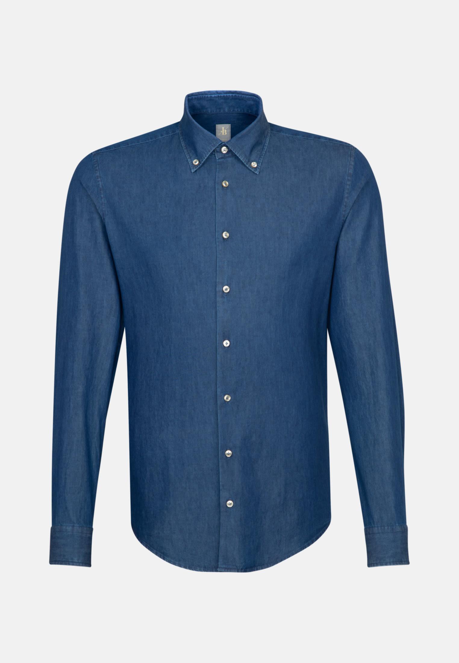 Denim Smart Casual Hemd in Slim Fit mit Button-Down-Kragen in Dunkelblau |  Jacques Britt Onlineshop