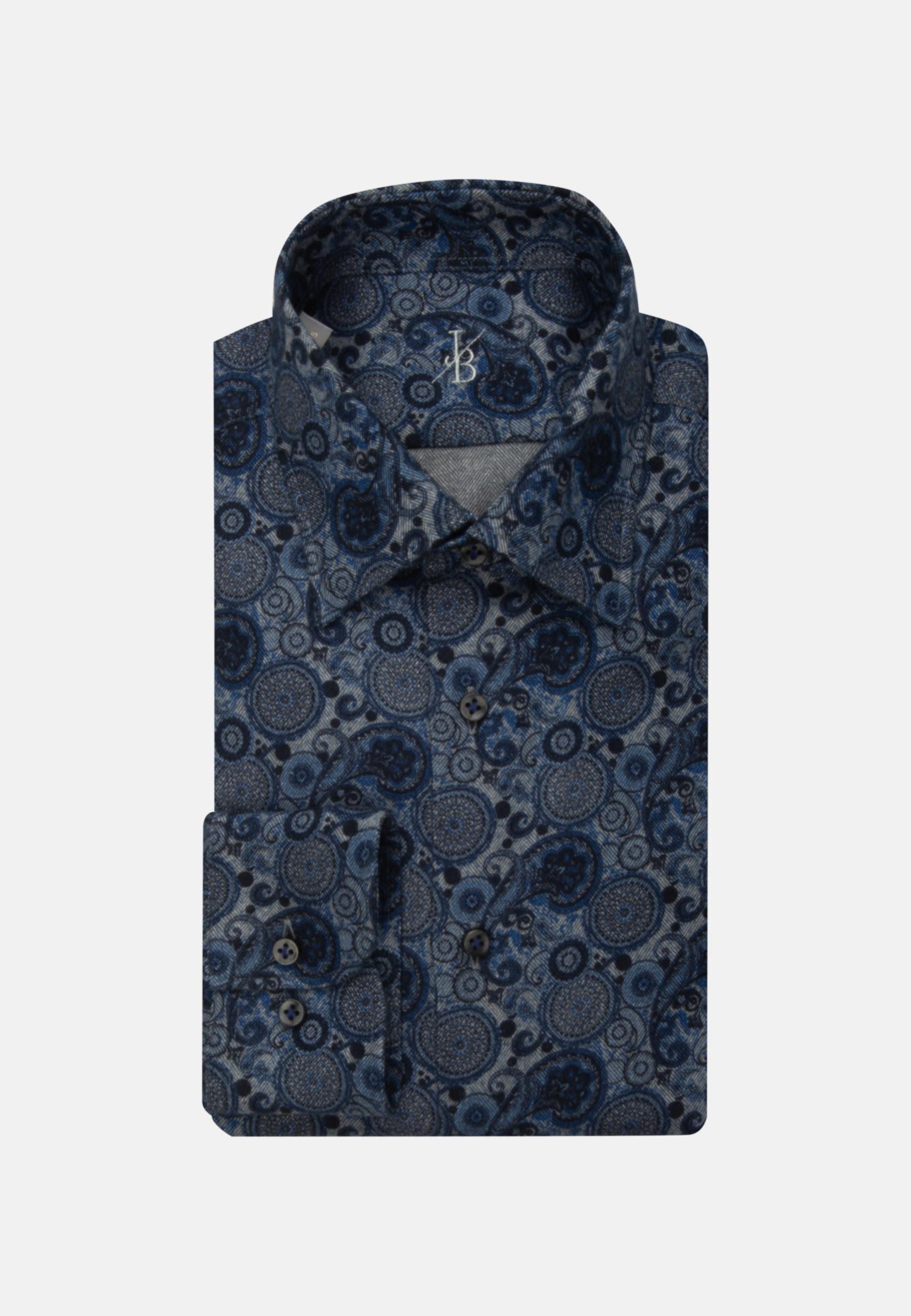 Flanell Smart Casual Hemd in Perfect Fit mit Under-Button-Down-Kragen in Mittelblau |  Jacques Britt Onlineshop