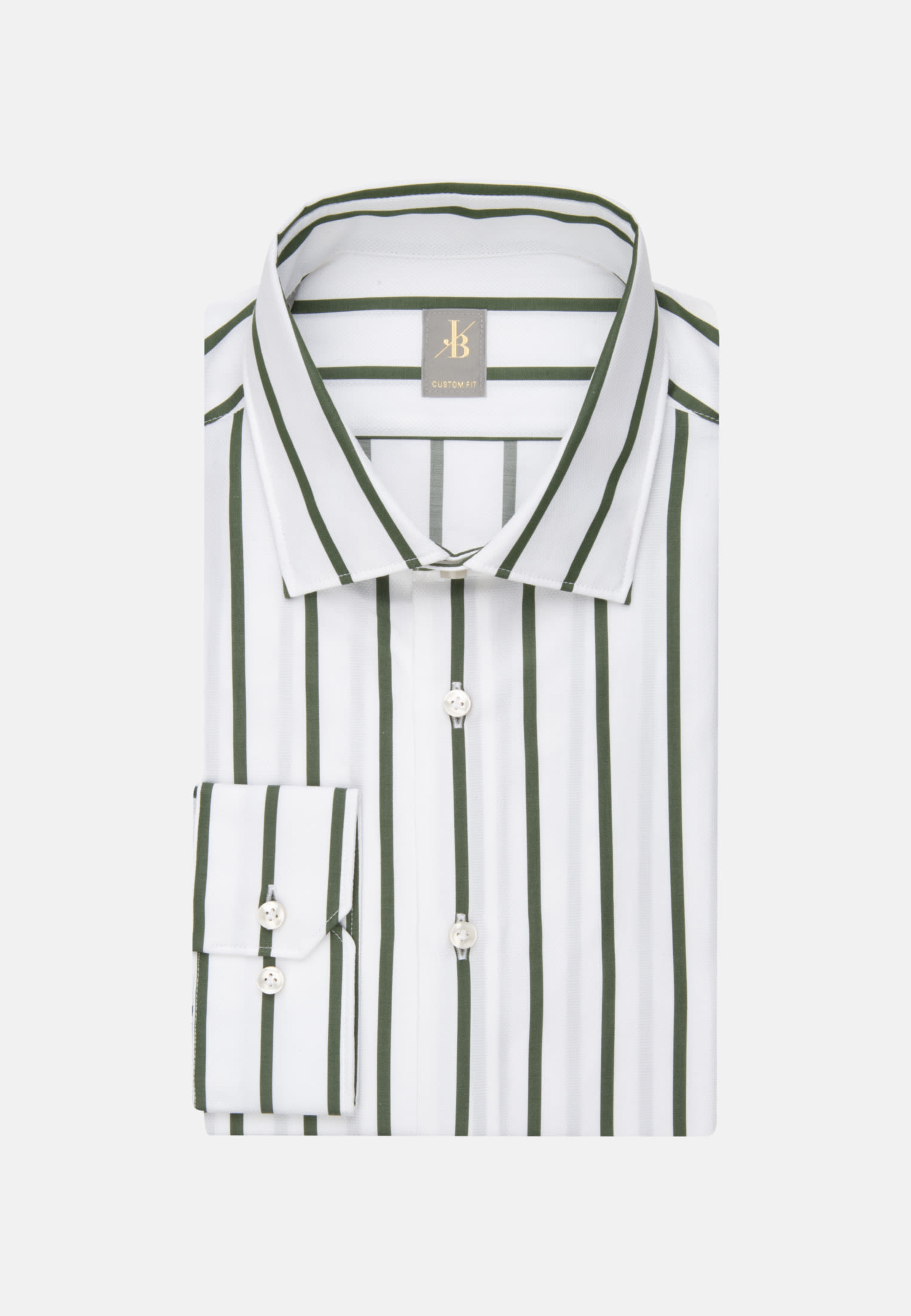 Struktur Business Hemd in Custom Fit mit Kentkragen in Grün |  Jacques Britt Onlineshop