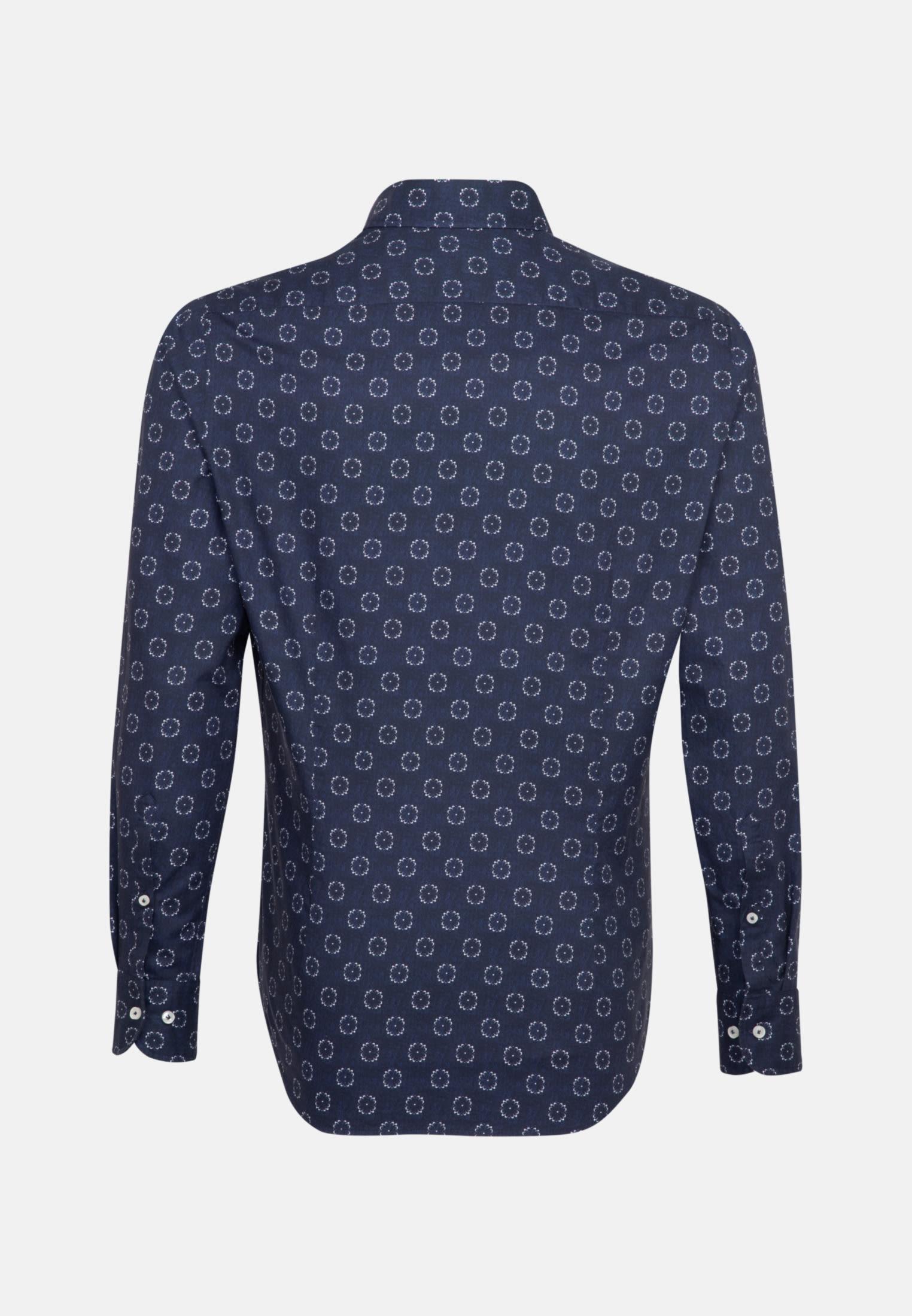 Popeline Smart Casual Hemd in Perfect Fit mit Haifischkragen in Mittelblau    Jacques Britt Onlineshop