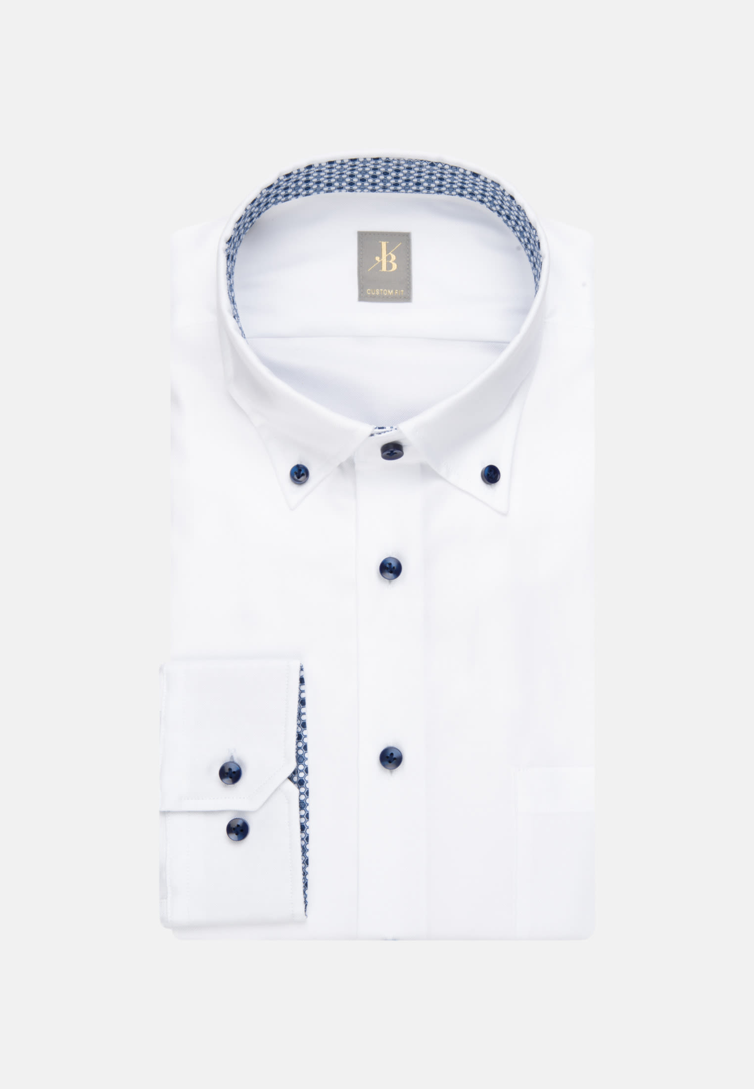 Oxford Business Hemd in Custom Fit mit Button-Down-Kragen in Weiß |  Jacques Britt Onlineshop