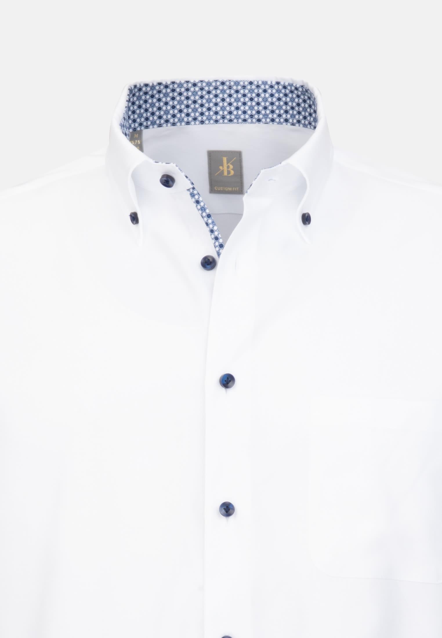 Oxford Business Hemd in Custom Fit mit Button-Down-Kragen in Weiß    Jacques Britt Onlineshop