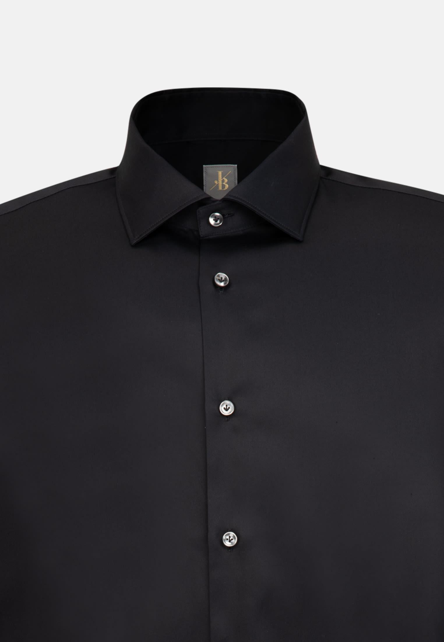 Satin Business Hemd in Custom Fit mit Kentkragen und extra langem Arm in Schwarz    Jacques Britt Onlineshop