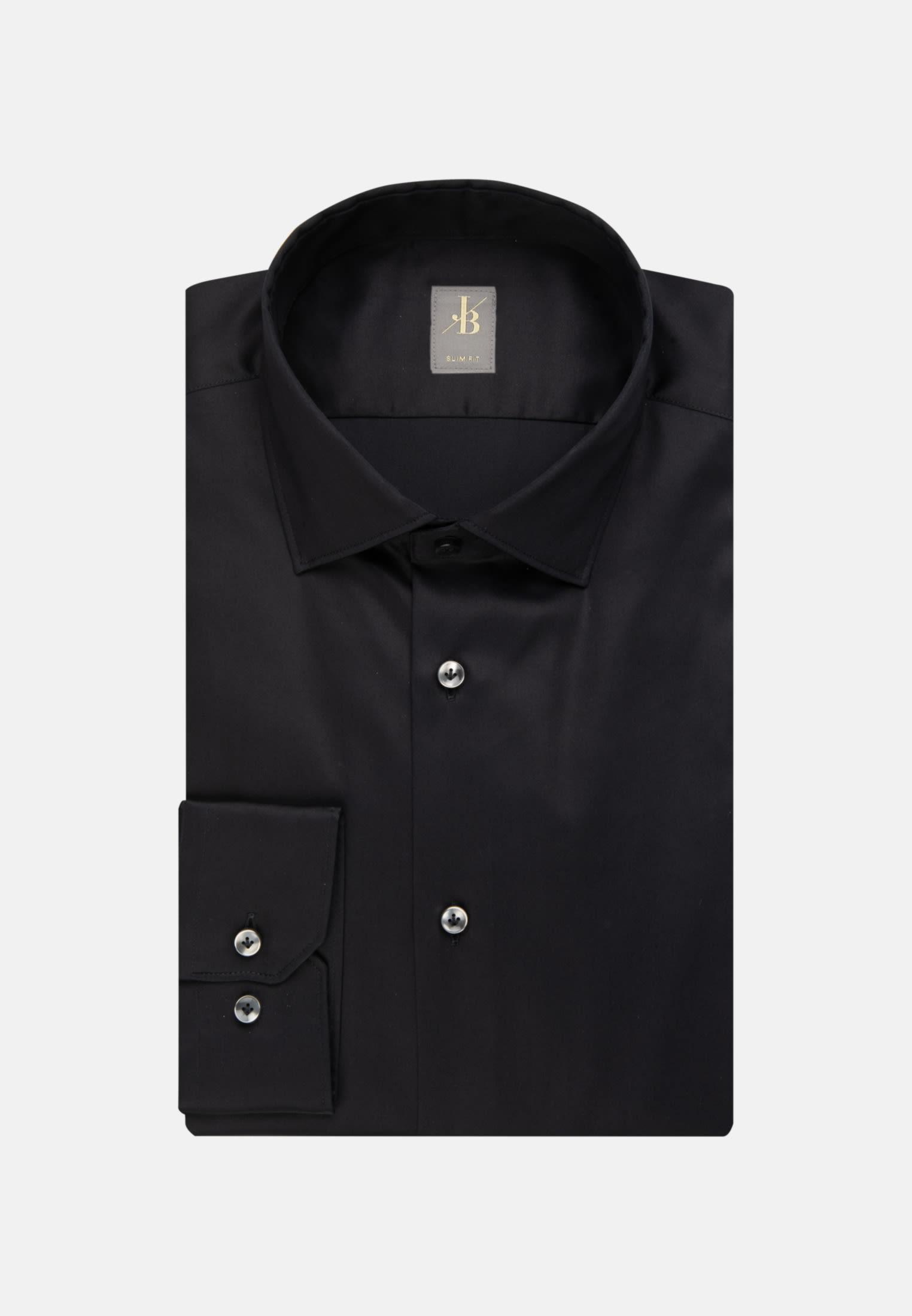 Satin Business Hemd in Slim Fit mit Kentkragen und extra langem Arm in Schwarz    Jacques Britt Onlineshop