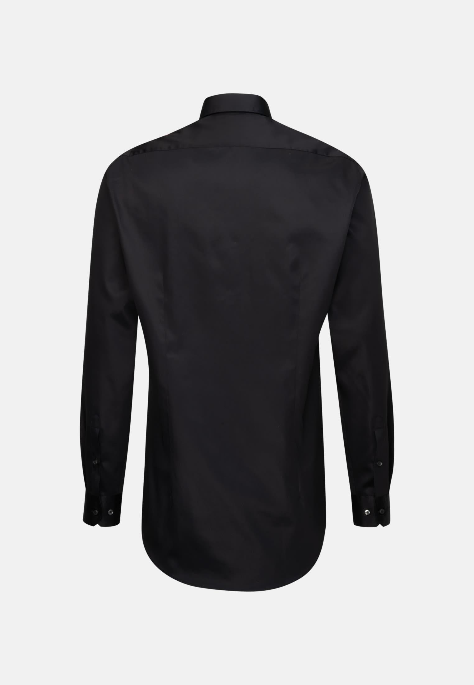 Satin Business Hemd in Slim Fit mit Kentkragen und extra langem Arm in Schwarz |  Jacques Britt Onlineshop