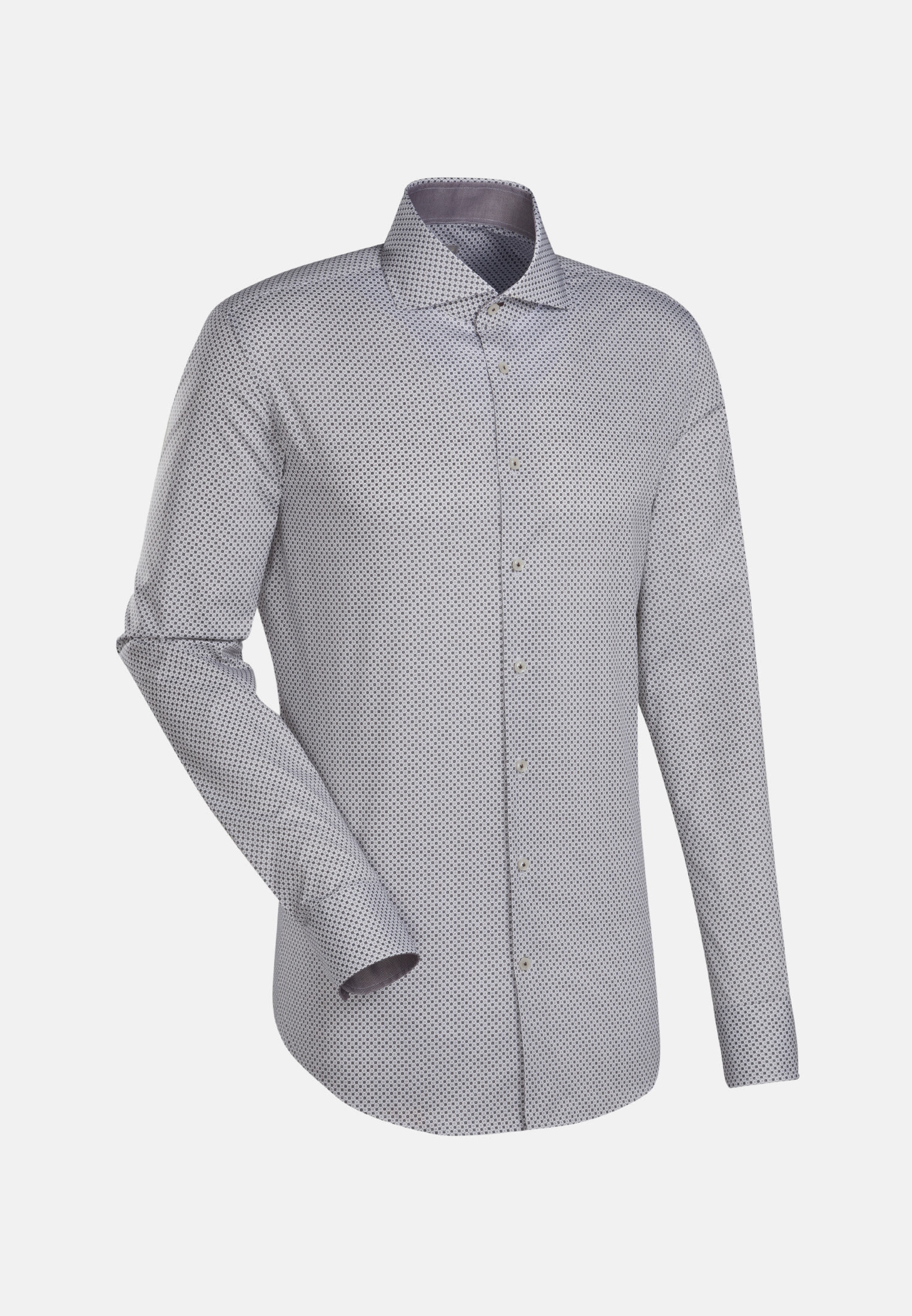 Popeline Business Hemd in Custom Fit mit Haifischkragen und extra langem Arm in Braun |  Jacques Britt Onlineshop