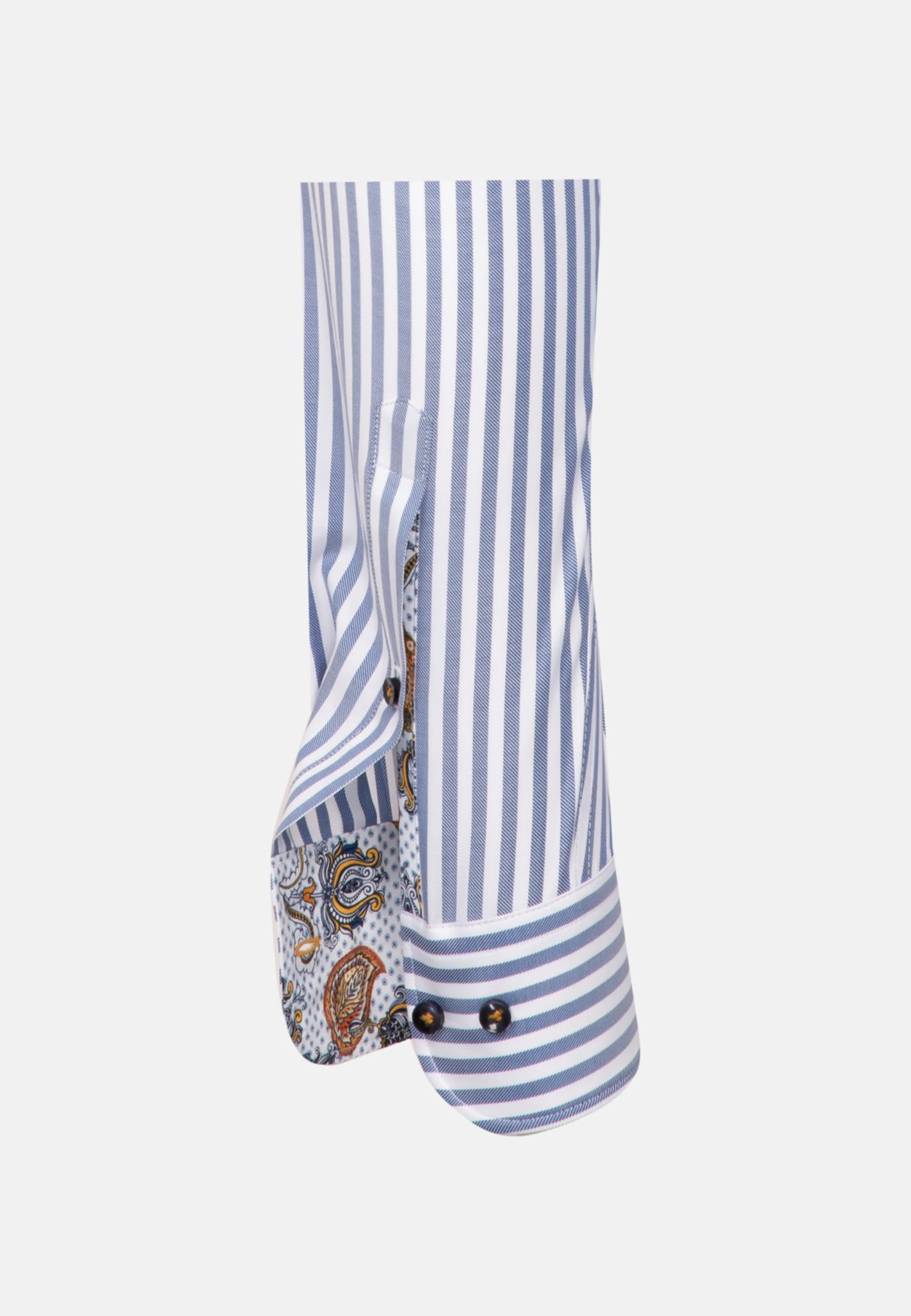 Twill Business Hemd in Custom Fit mit Under-Button-Down-Kragen in Mittelblau |  Jacques Britt Onlineshop