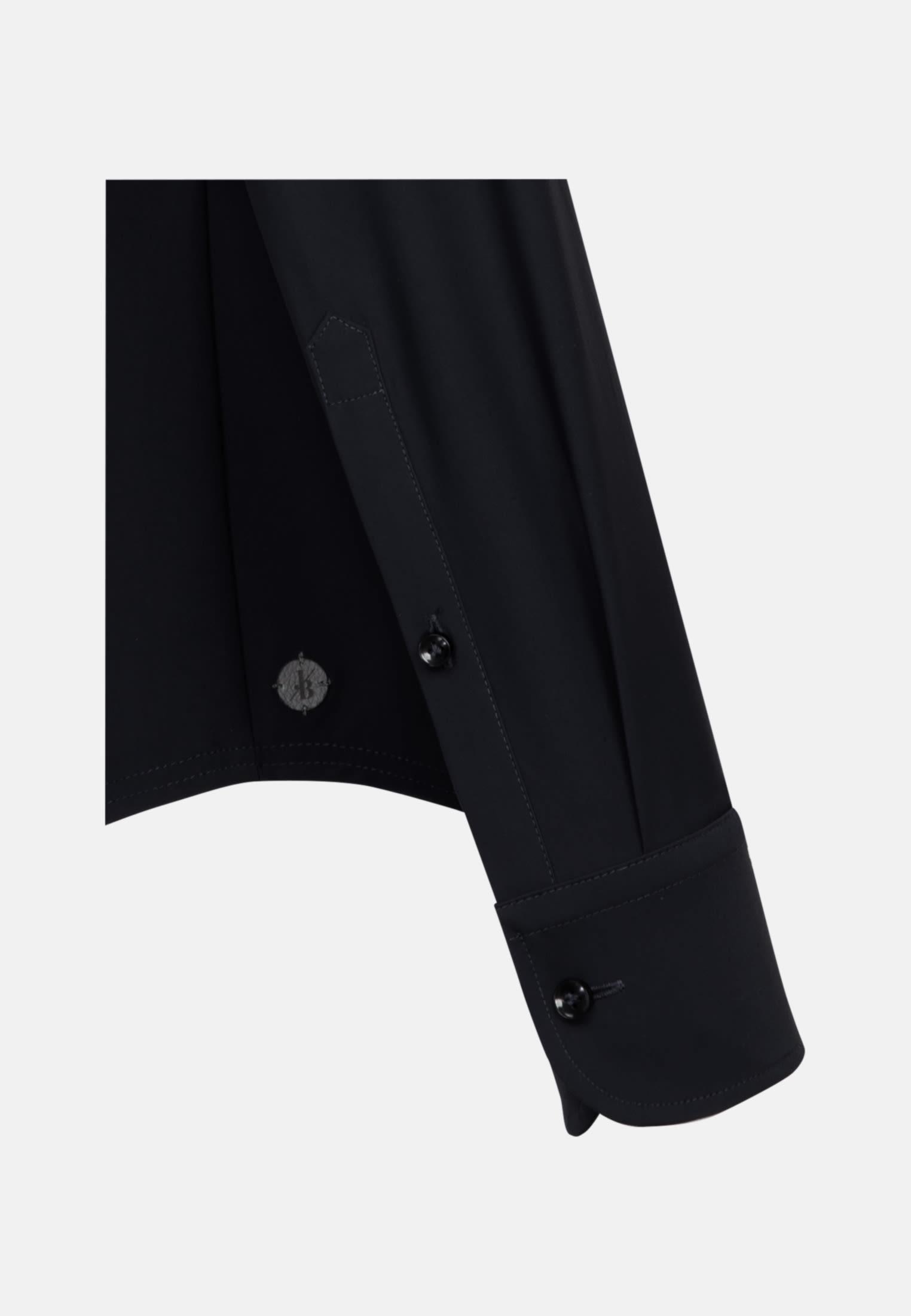 Phantasiebindung Smart Casual Hemd in Perfect Fit mit Haifischkragen in Schwarz |  Jacques Britt Onlineshop