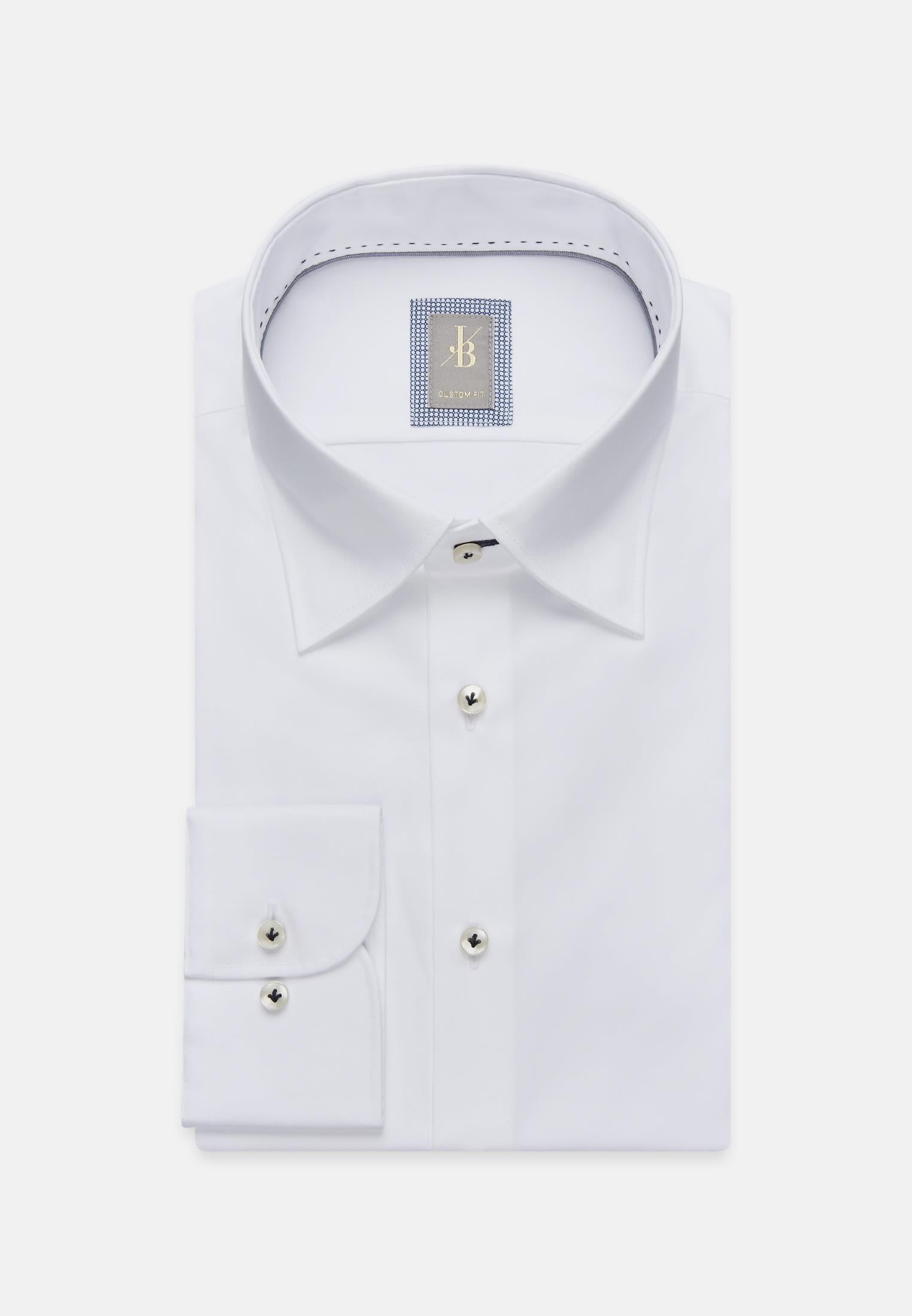 Twill Business Hemd in Custom Fit mit Under-Button-Down-Kragen in Weiß |  Jacques Britt Onlineshop