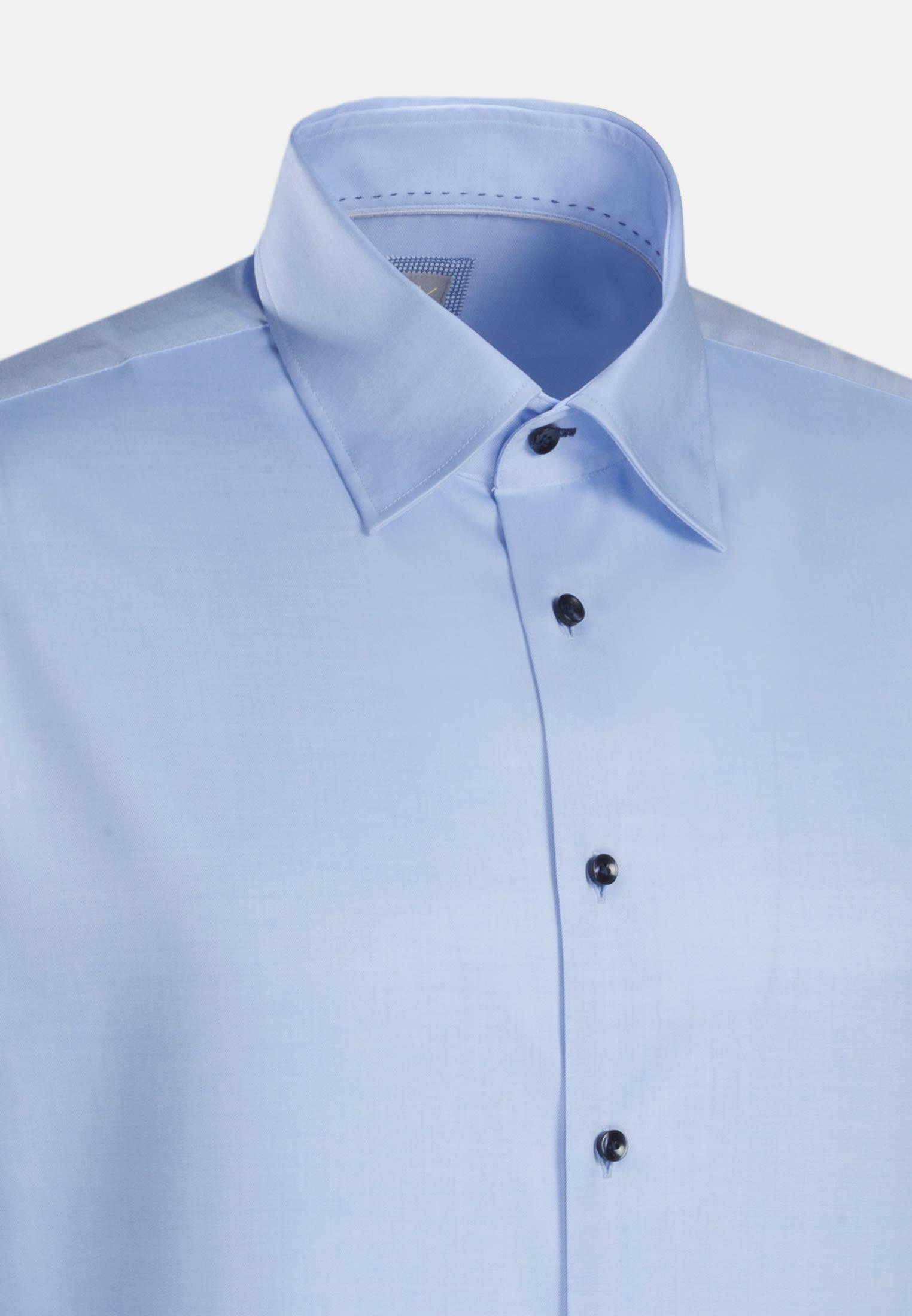 Twill Business Hemd in Slim Fit mit Under-Button-Down-Kragen in Hellblau |  Jacques Britt Onlineshop
