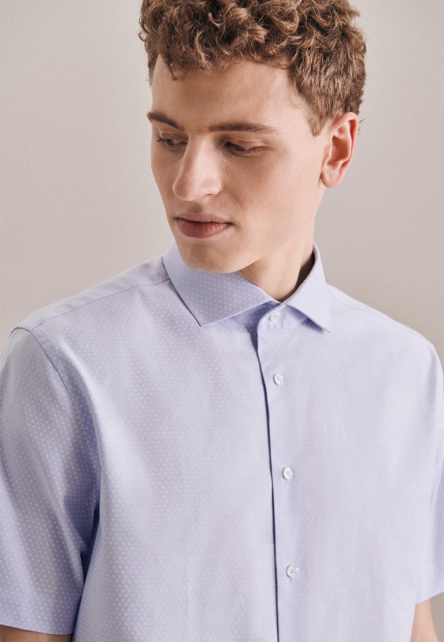 Kurzarm Oxford Business Hemd in Shaped mit Kentkragen in Hellblau |  Jacques Britt Onlineshop