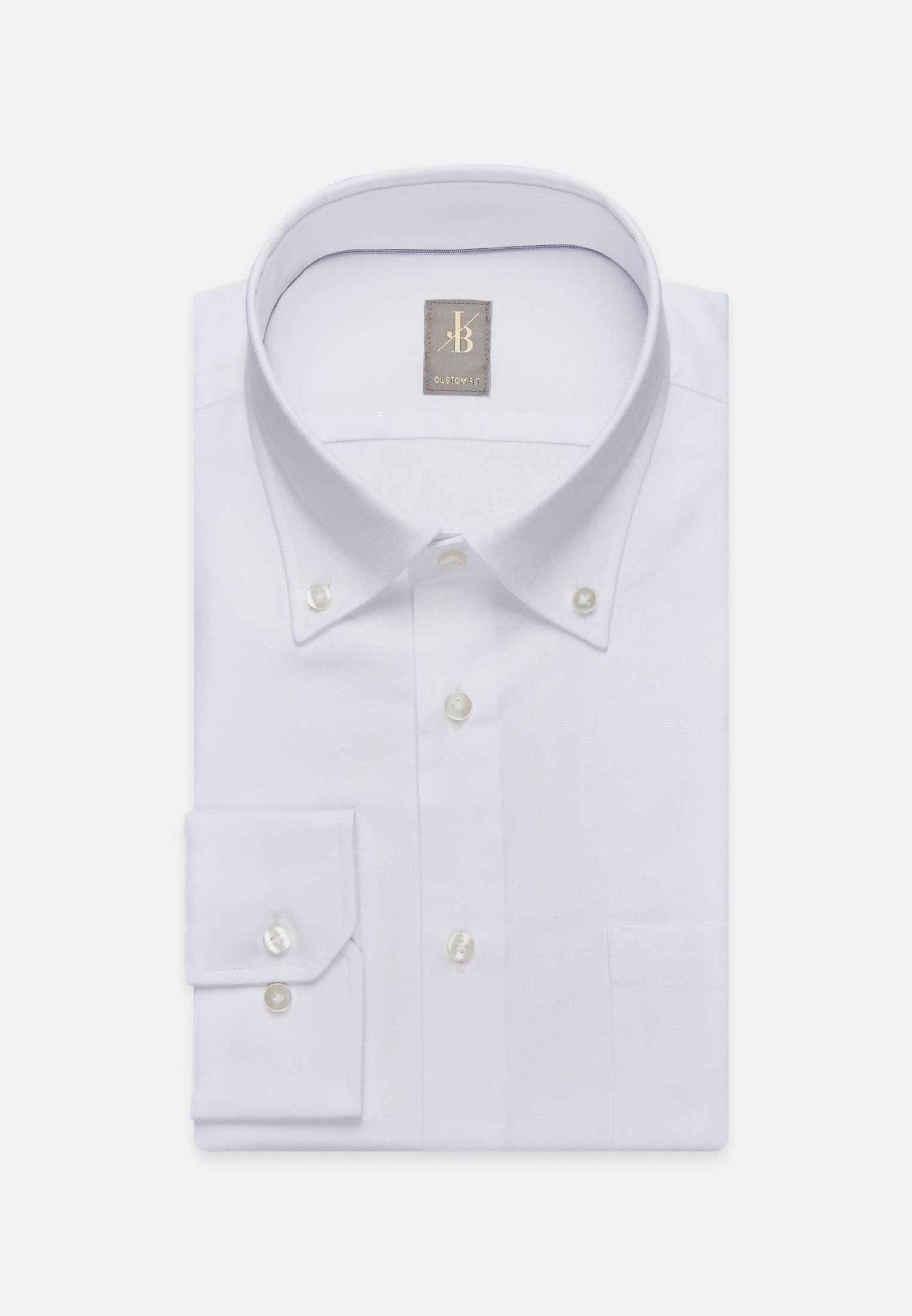 Oxford Business Hemd in Custom Fit mit Button-Down-Kragen in Weiß |  Jacques Britt Onlineshop