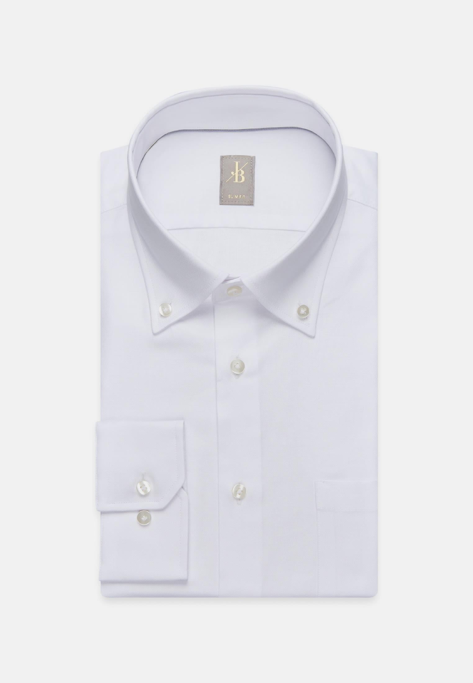Oxford Business Hemd in Slim Fit mit Button-Down-Kragen in Weiß    Jacques Britt Onlineshop
